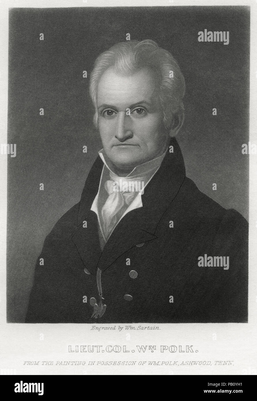 Lieutenant Colonel William Polk (1758-1834), Banker, Educational Administrator, Political Leader, and Renowned Continental officer in the War for American Independence, Illustration from the Original Painting in Possession of William Polk, Ashwood, Tennessee - Stock Image