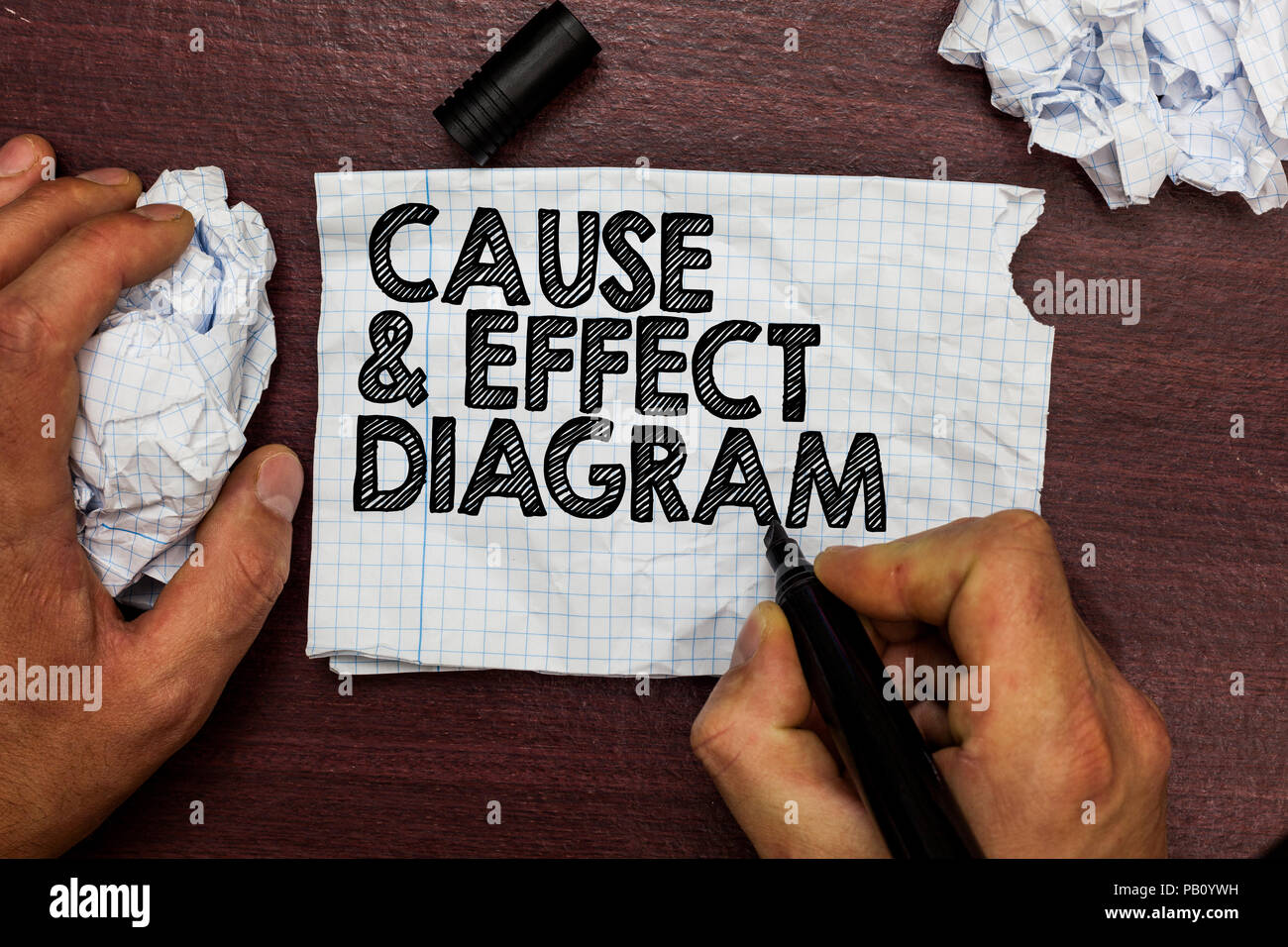 Conceptual hand writing showing Cause and Effect Diagram. Business photo text Visualization tool to categorize potential causes Hand hold pen sketch w Stock Photo