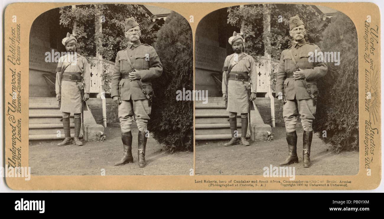Lord Roberts, hero of Candahar and South Africa, Commander-in-Chief of British Armies, Pretoria, South Africa, Stereo Card, Underwood & Underwood, 1900 - Stock Image