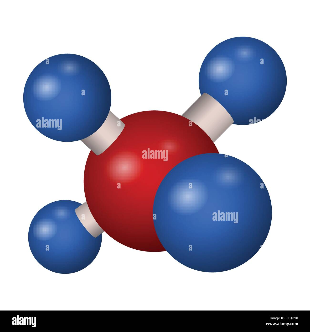 Chemical formula of methane. 3D model molecule CH4 . Vector illustration. - Stock Vector