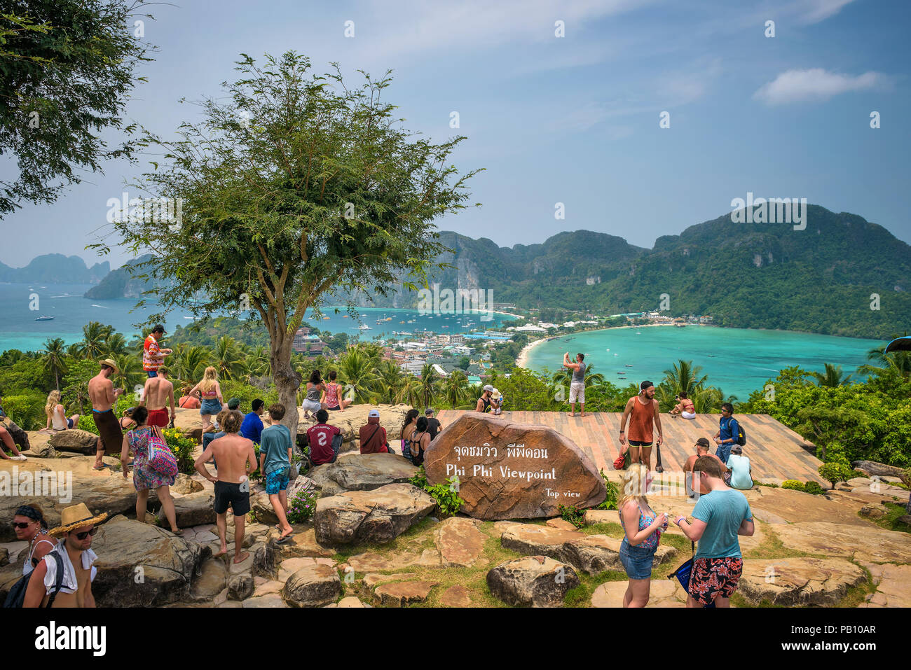 Tourists enjoy panoramic view over Koh Phi Phi Island in Thailand - Stock Image