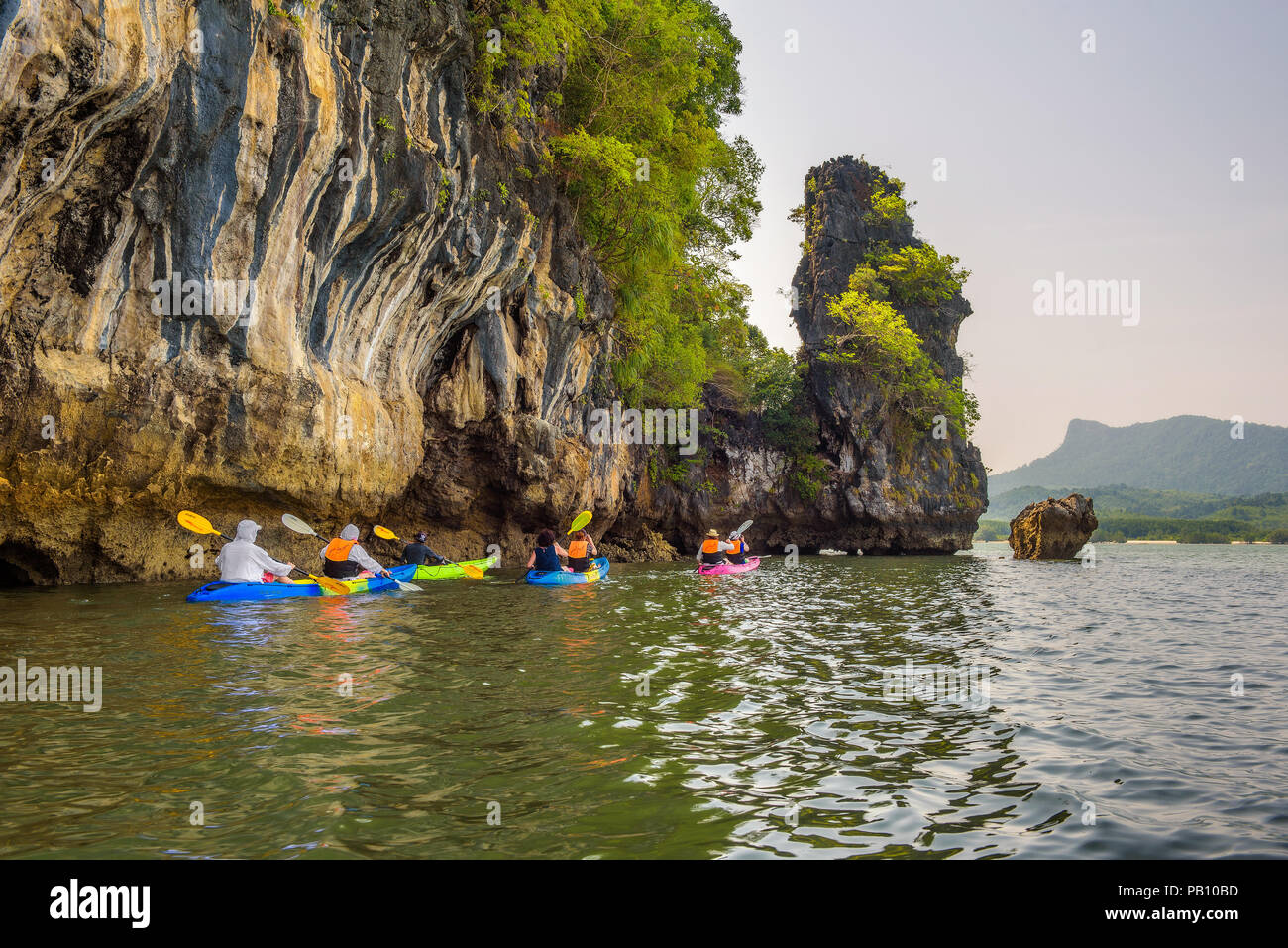 Kayaking into mangrove jungle of Krabi, Thailand - Stock Image