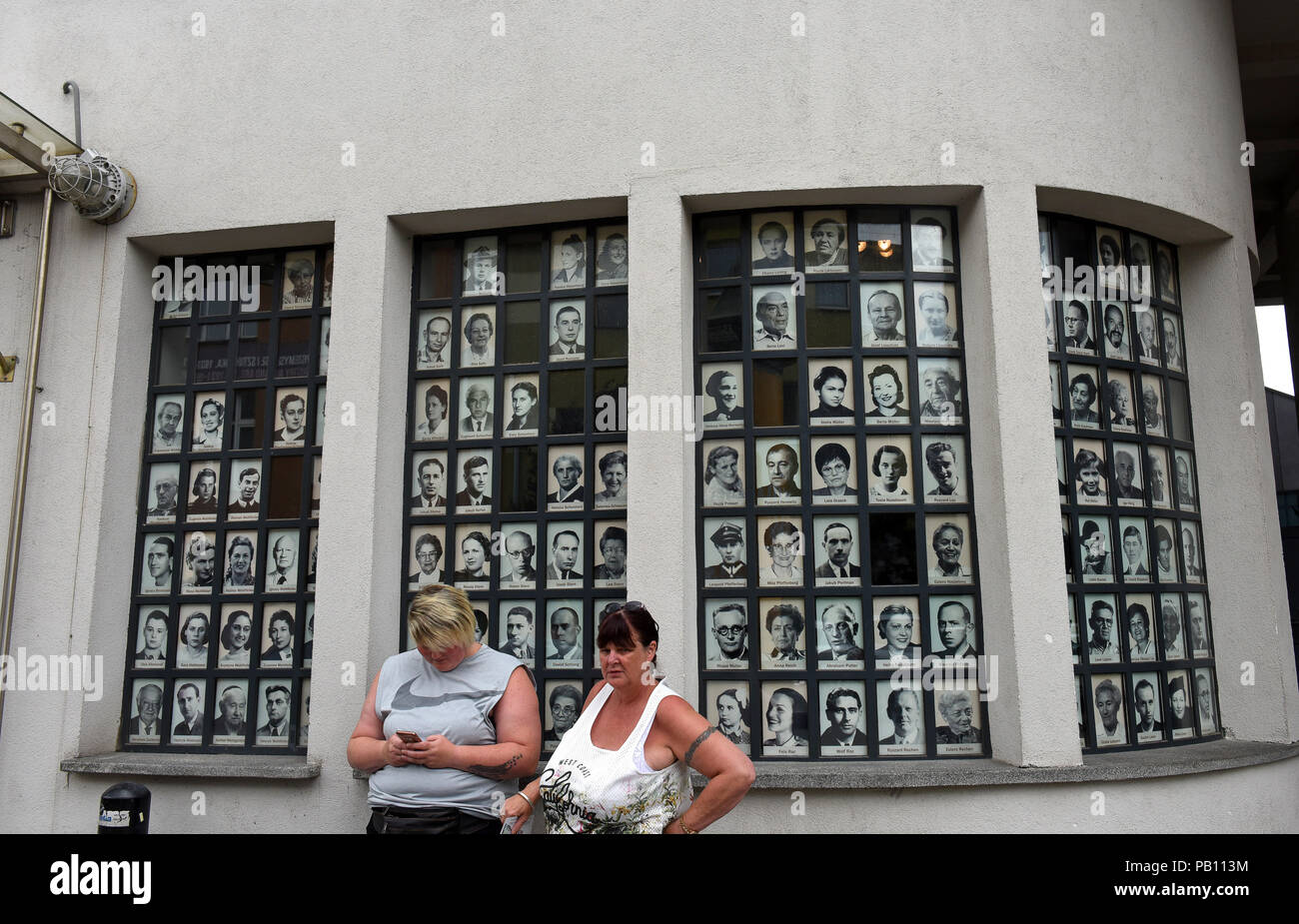 Portraits of Jewish workers and survivors from the Oskar Schindler factory Krakow Poland location of the former factory of Oskar Schindler - known fro - Stock Image