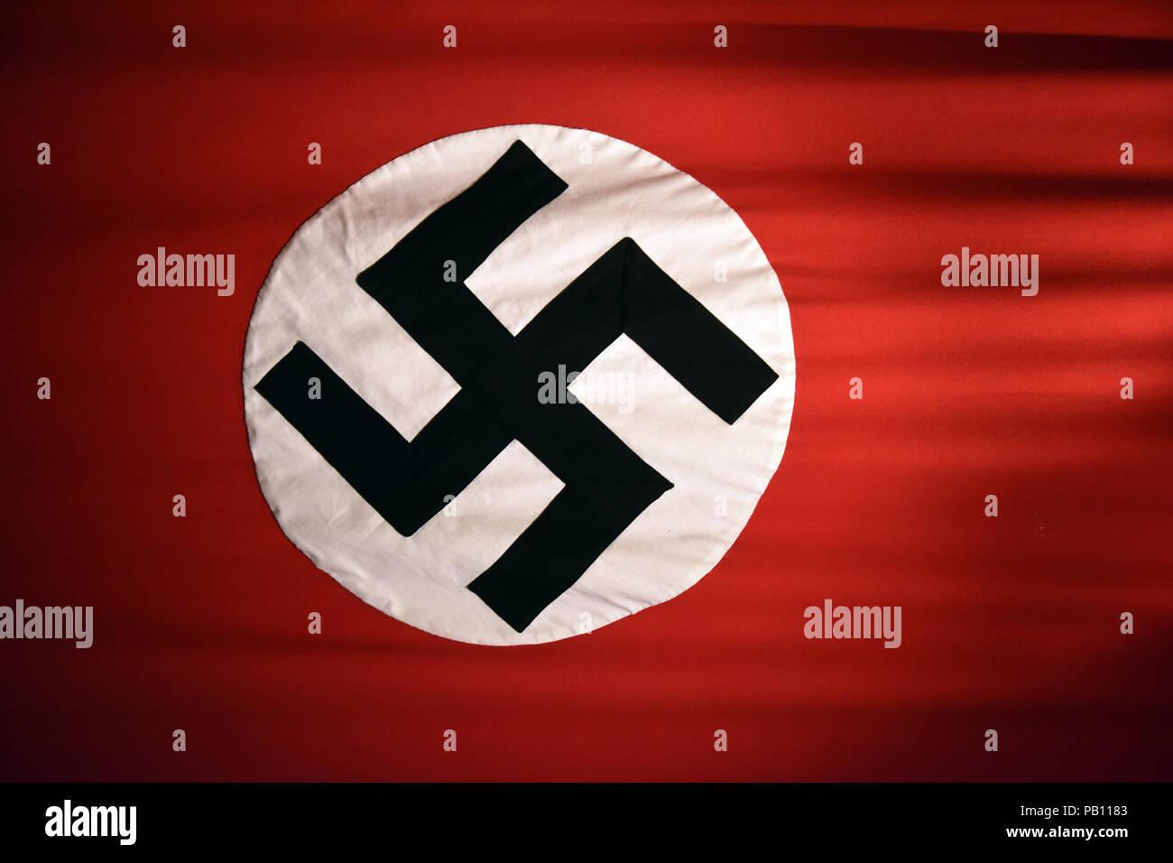 German Third Reich nazi flag with swastika - Stock Image