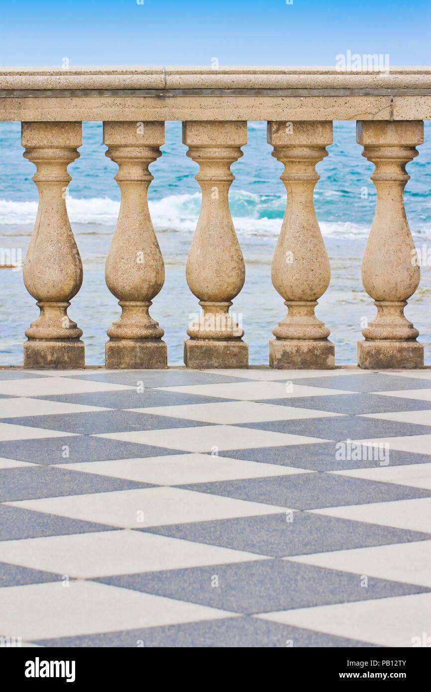 Detail of the Mascagni terrace (Italy - Livorno city) - Stock Image