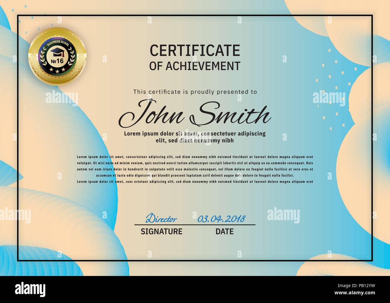 Official Beige Blue Certificate With Blue Orange Abstract