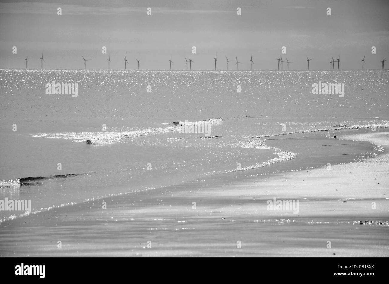 Monochrome. Shoreline with wind turbines in distance, Lincolnshire coast, England, UK - Stock Image