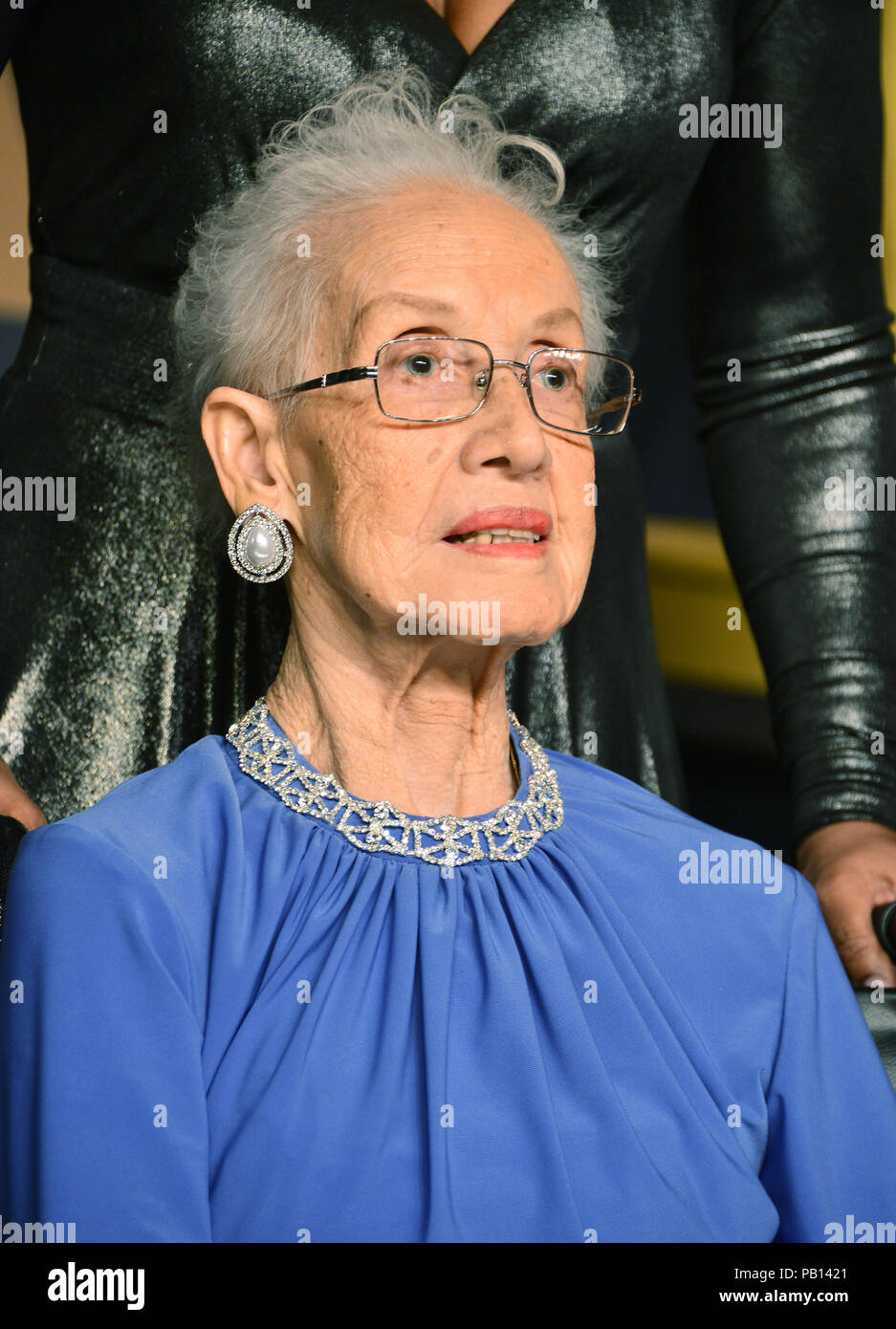 Katherine Johnson 450  89th Academy Awards ( Oscars ), press room at the Dolby Theatre in Los Angeles. February 26, 2017.Katherine Johnson 450 Event in Hollywood Life - California,  USA, Red Carpet and backstage, Film Industry, Celebrities,  movie celebrities, TV celebrities, Music celebrities, Photography,  Arts Culture and Entertainment, headshot, vertical, one person,, from the year , 2017, inquiry tsuni@Gamma-USA.com - Stock Image