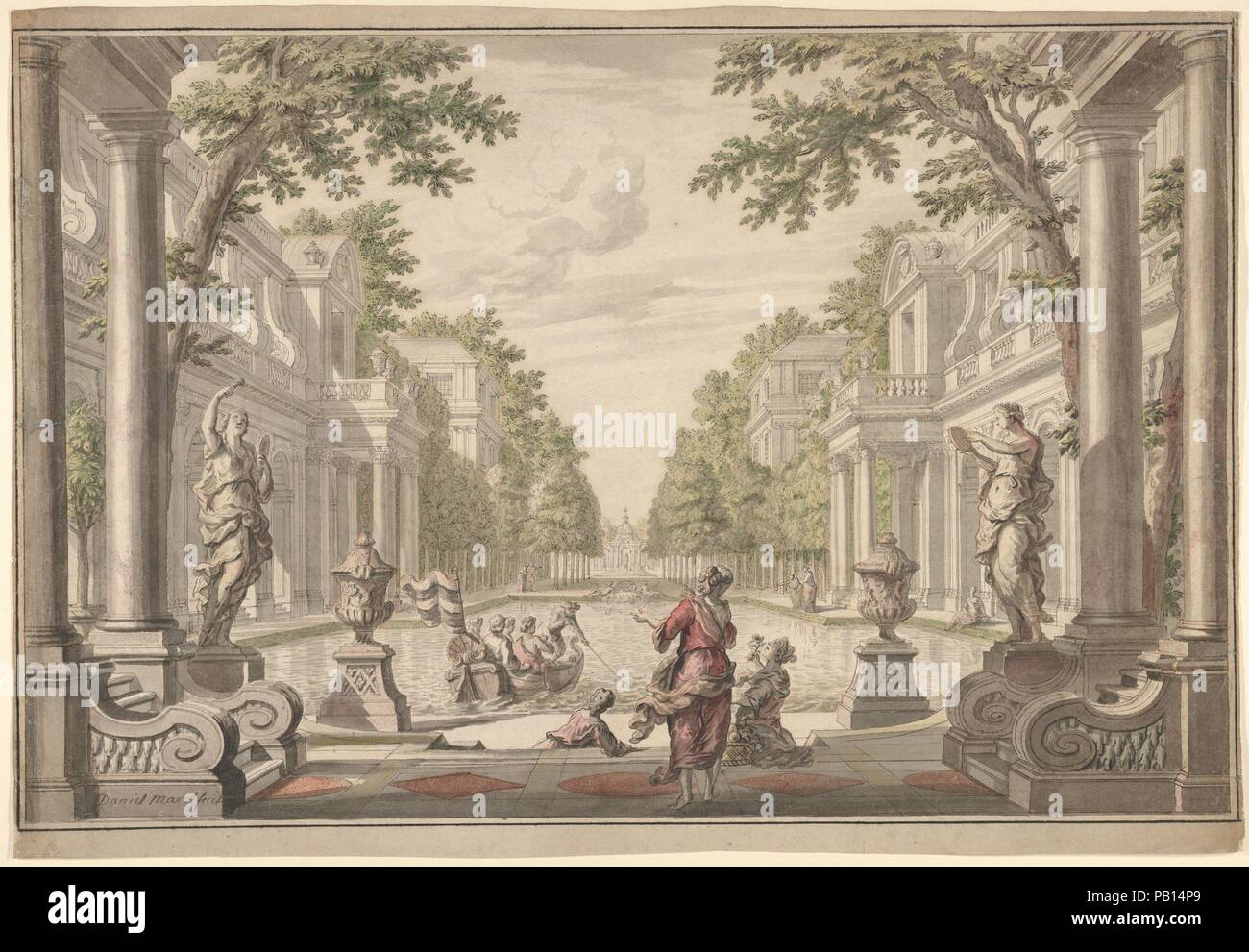 view of a palace garden with a central pond surrounded by classical architecture tapestry or stage design artist daniel marot the elder french - Water Garden Theater