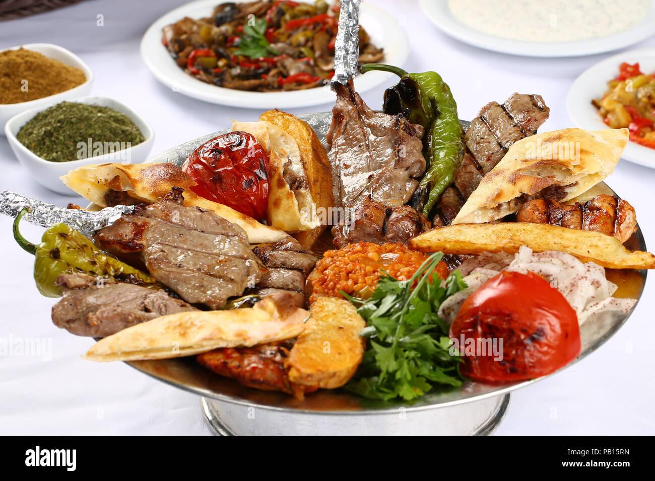 Mixed Kebab Plate Turkish Lahmacun Adana Shish Kebab Chicken Meat Meatball Stock Photo Alamy
