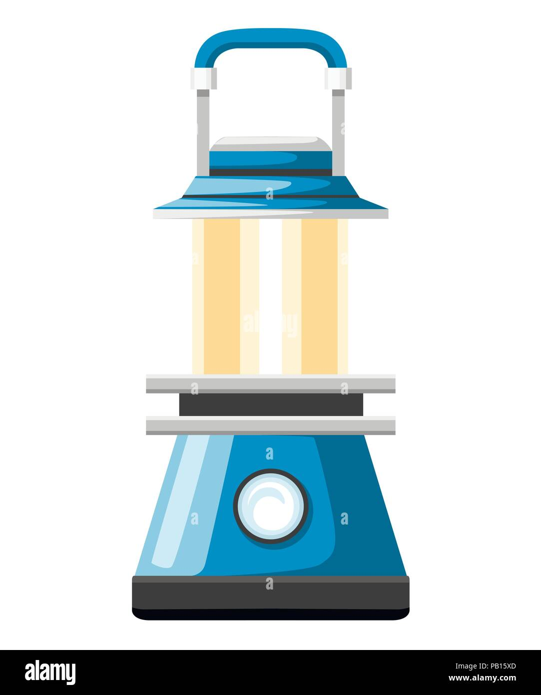 Modern blue oil lamp. Camping lantern. Looks like a gas lamp. Flat vector illustration isolated on white background. - Stock Vector
