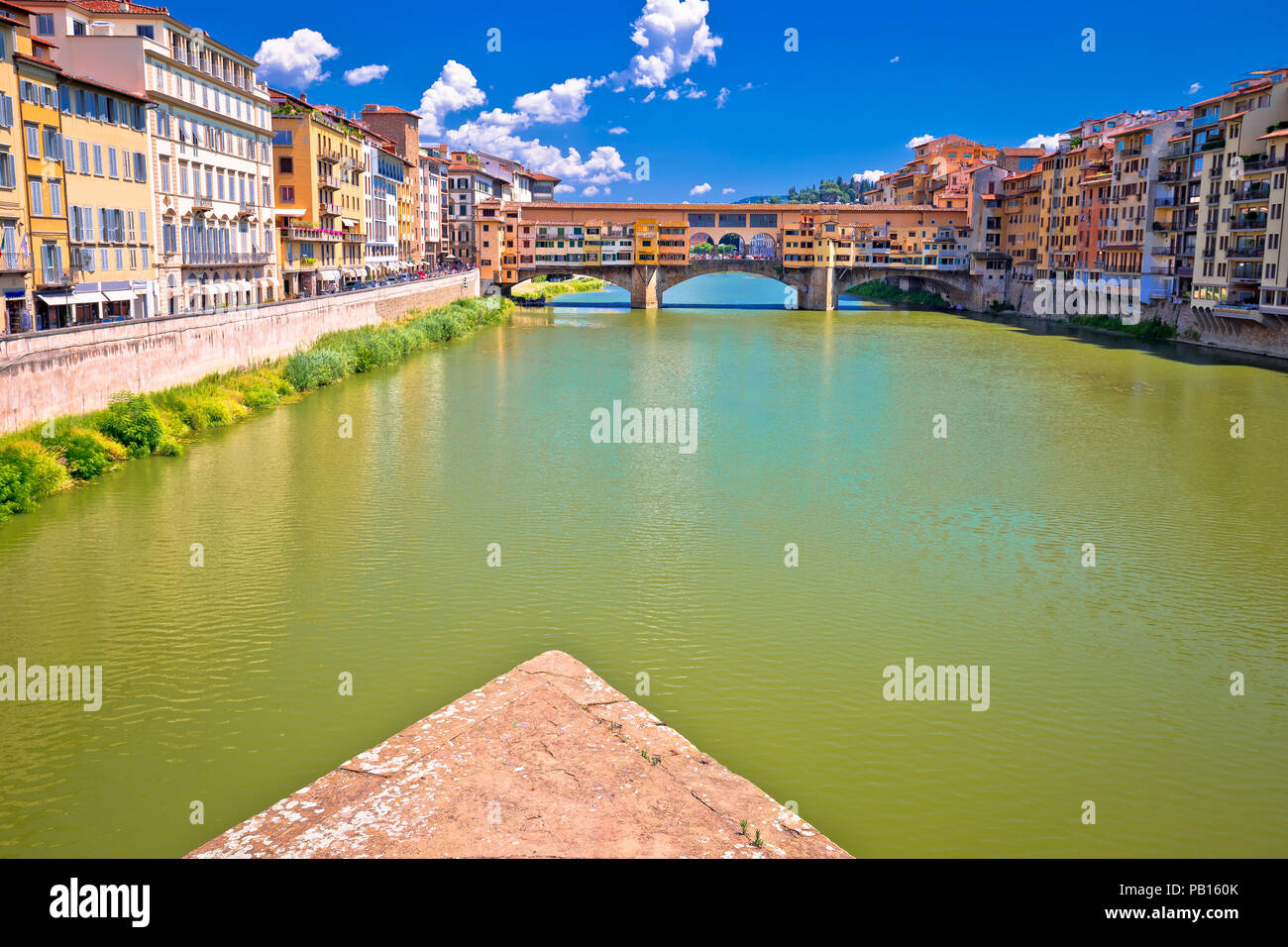 Ponte Vecchio bridge and Arno river waterfront of Florence view, Tuscany region of Italy - Stock Image