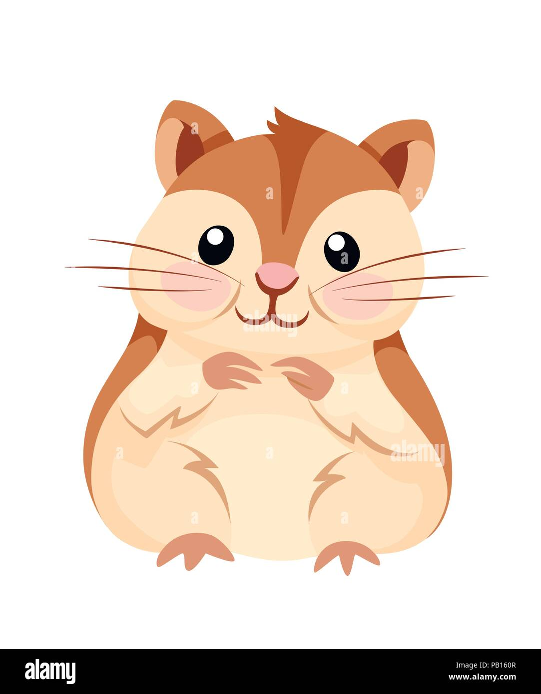 cartoon animal illustration cute hamster sit and smiling flat