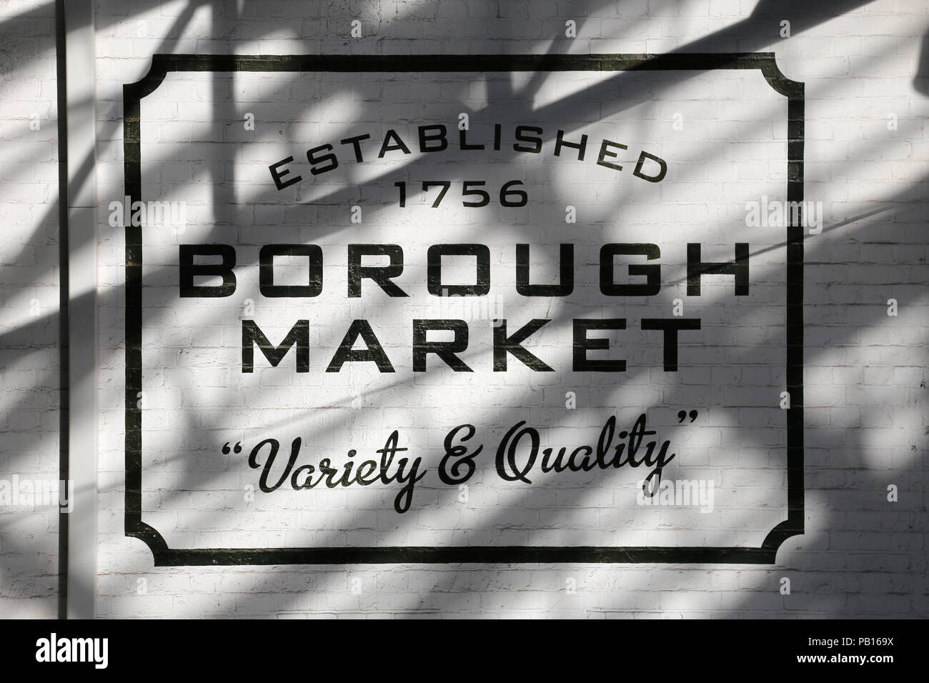 Sign painted on wall of Borough Market, London Borough of Southwark, London, England, Great Britain, United Kingdom, UK, Europe - Stock Image