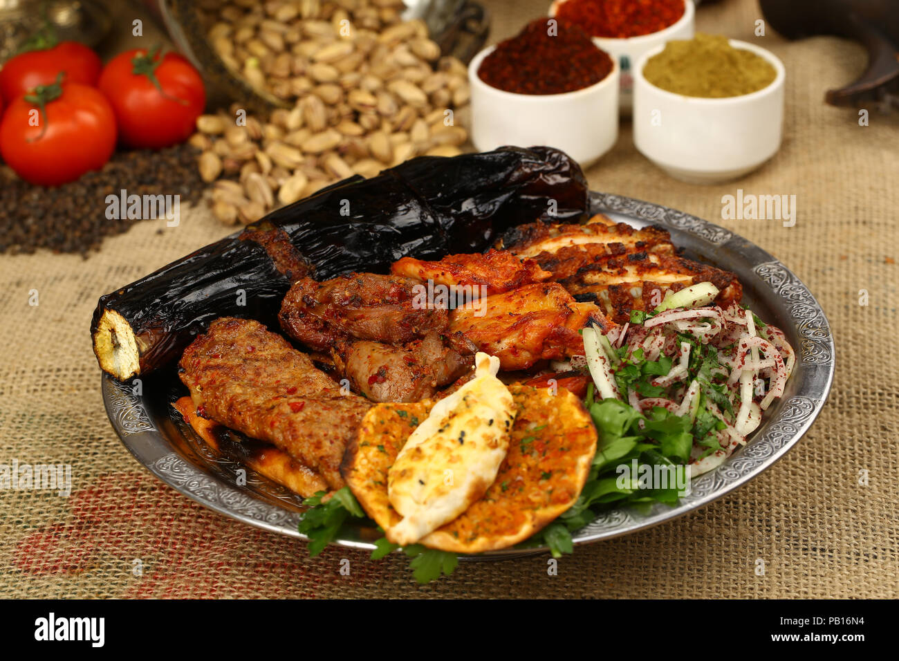 Mixed Kebab Plate Turkish Lahmacun Adana Shish Kebab Chicken Meat Meatball Stock Photo Alamy