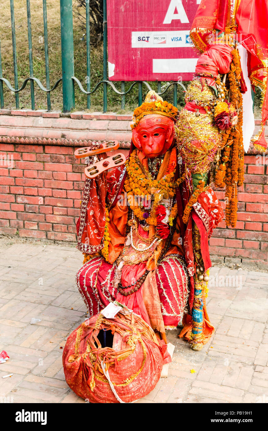 Man dressed as Hanuman the monkey god during Maha Shivaratri in Pashupatinath temple, Kathmandu, Nepal - Stock Image