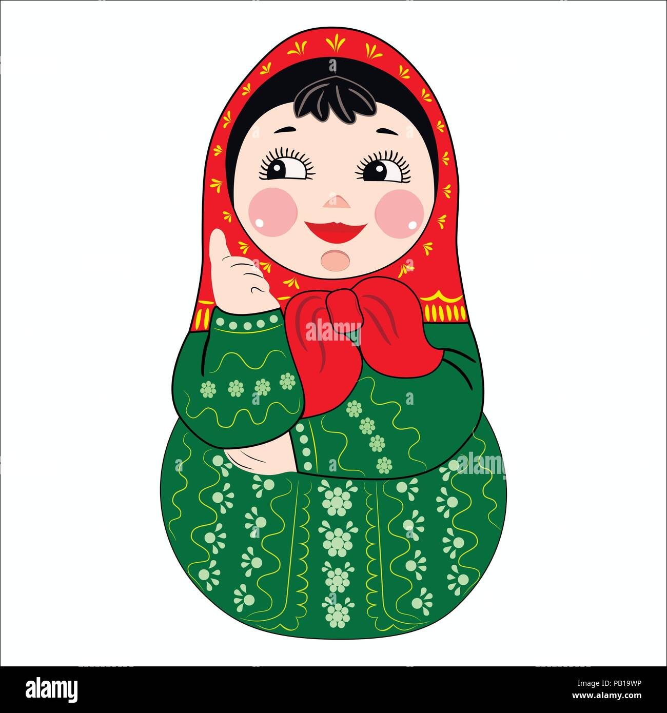Retro Russian Doll Matryoshka Painted At Khokhloma Style Vector Linear And  Colored Pictures Stock Illustration - Download Image Now - iStock