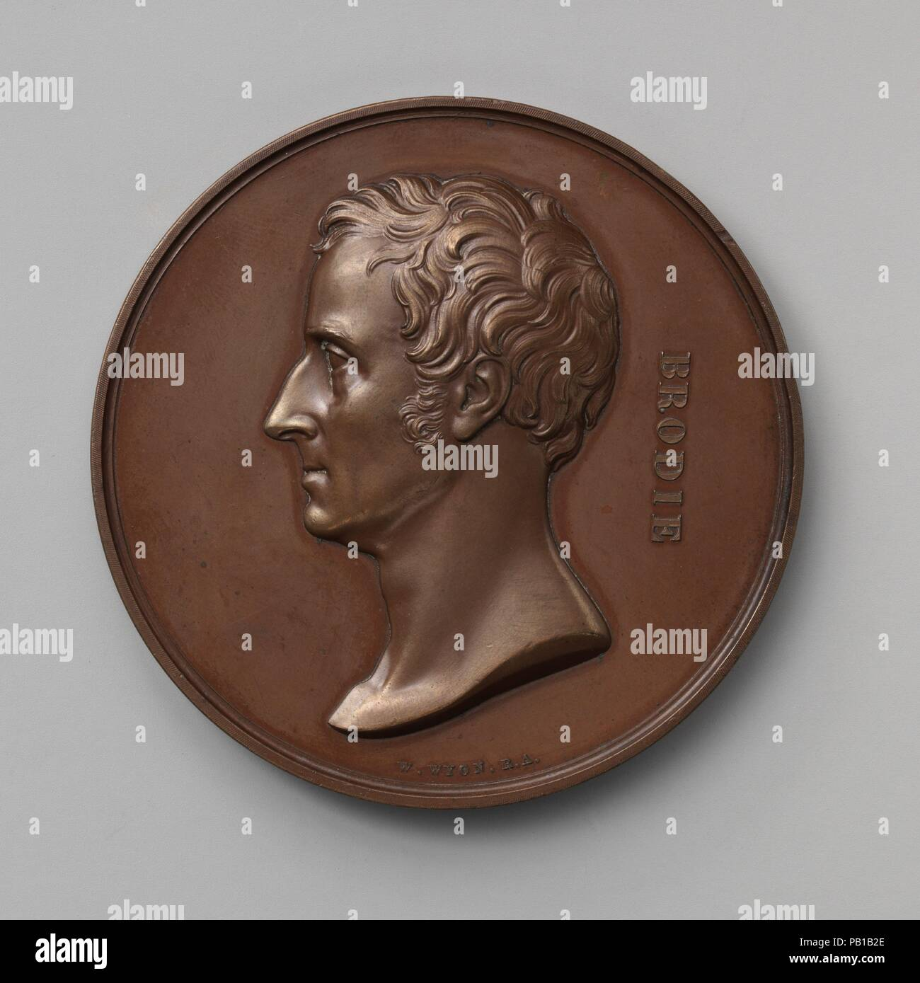 In Honor of the Surgical and Pathological Discoveries of Sir Benjamin Collins Brodie, Bart., Sergeant-Surgeon to George IV, William IV, and Victoria (1783-1862). Artist: Medalist: William Wyon (British, Birmingham 1795-1851 Brighton). Culture: British, London. Dimensions: Diameter: 2 7/8 in. (7.3 cm). Date: 1841. Museum: Metropolitan Museum of Art, New York, USA. - Stock Image