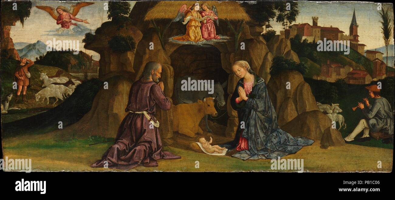 The Nativity. Artist: Antoniazzo Romano (Antonio di Benedetto Aquilio) (Italian, Rome 1435/40-1508 Rome). Dimensions: 11 1/2 x 26 1/2 in. (29.2 x 67.3 cm). Date: 1480s.    This work was painted about 1482--when a team of Florentine and Umbrian painters were decorating the walls of the Sistine Chapel. Antoniazzo, a native of Rome, responded especially to the presence of Perugino and Ghirlandaio. He sets his depiction of the nativity--one of three scenes from the base (predella) of an altarpiece--in a landscape suggestive of Lazio, the region around Rome. Museum: Metropolitan Museum of Art, New  - Stock Photo