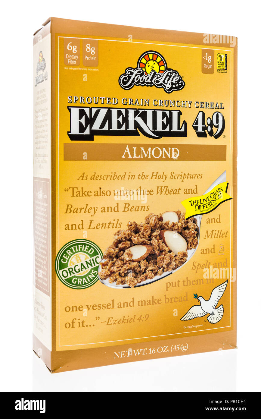 Winneconne, WI - 21 July 2018 -  A box of Food for Like Ezekiel 4:9 organic cereal on an isolated background. - Stock Image