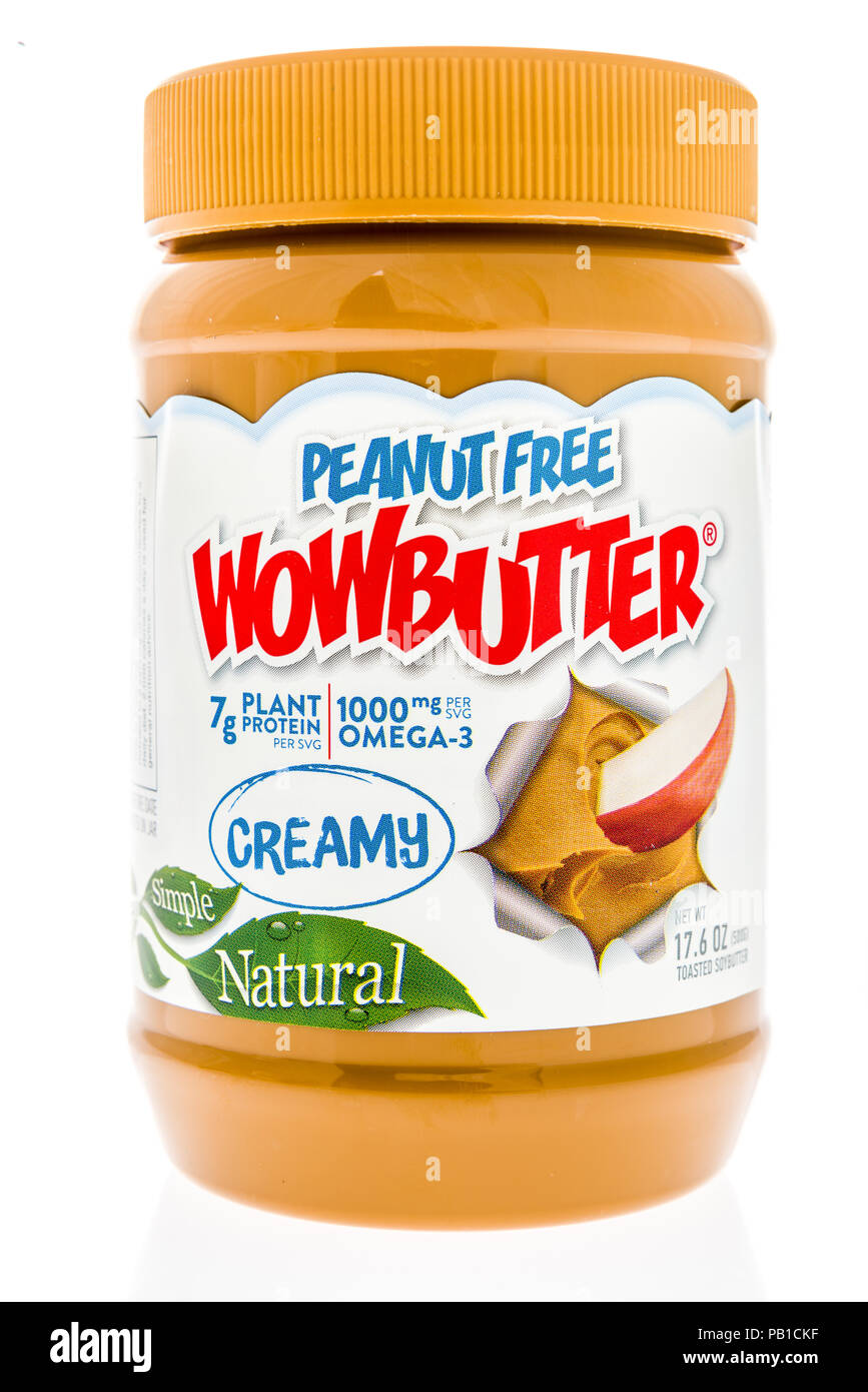 Winneconne, WI - 21 July 2018 -  A jar of Peanut Free Wowbutter on an isolated background. Stock Photo
