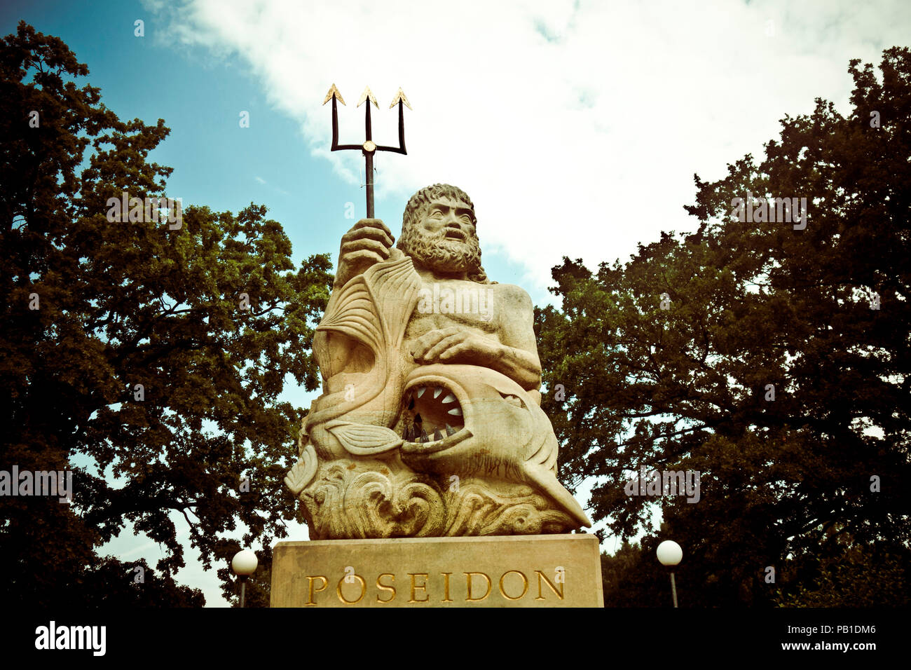 statue of Poseidon god of sea and other waters - Stock Image