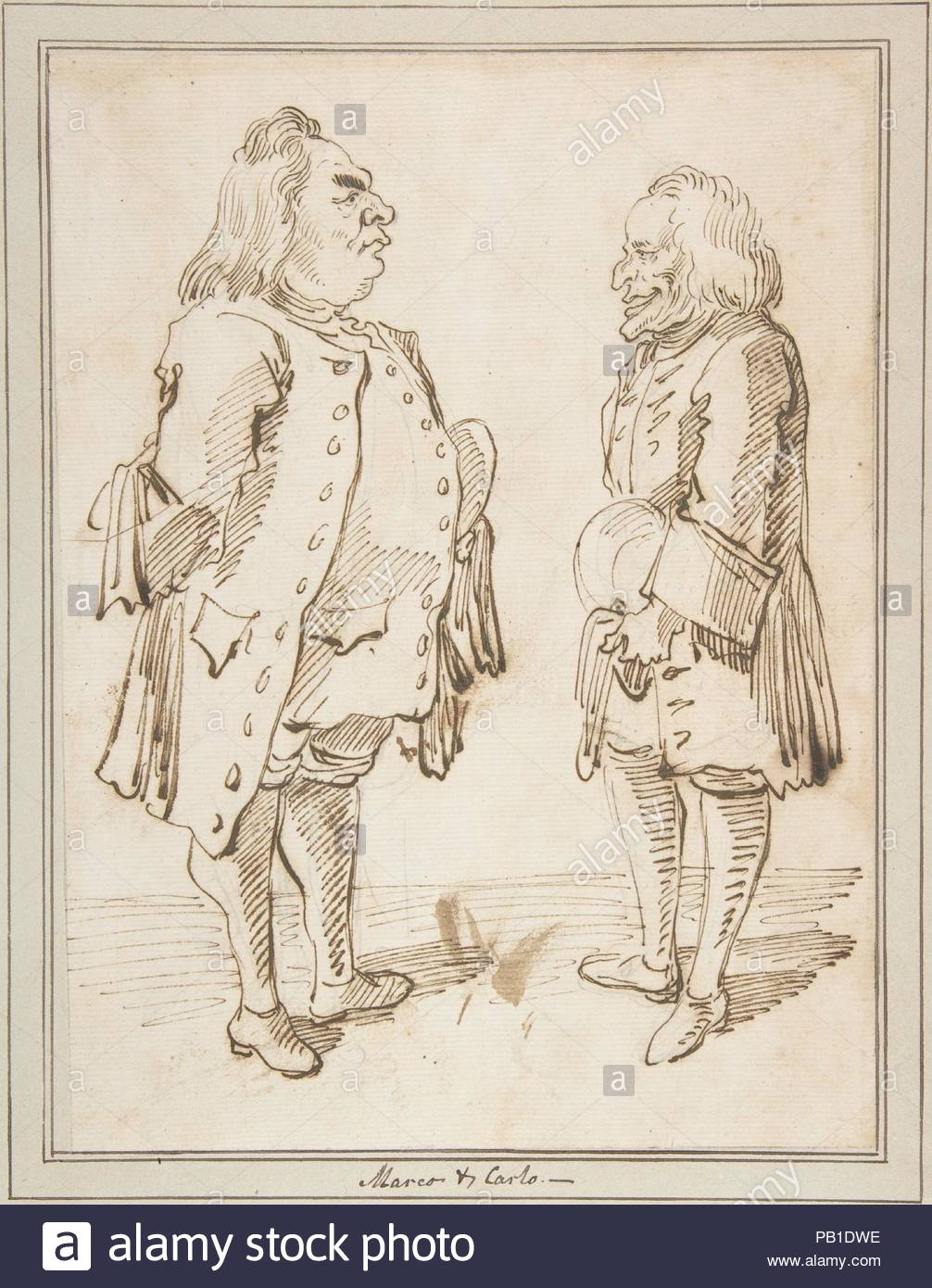 Marco and Carlo: Caricature of Two Men Standing Face to Face. Artist ...