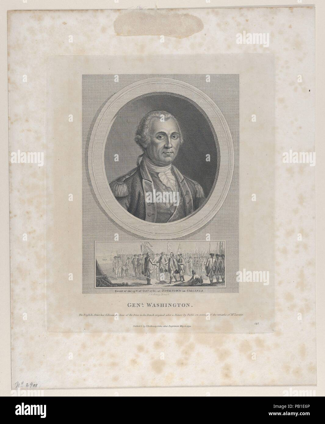 General Washington. Artist: After Charles Willson Peale (American, Chester, Maryland 1741-1827 Philadelphia, Pennsylvania). Dimensions: Plate: 9 5/8 × 8 in. (24.4 × 20.3 cm)  Sheet: 8 15/16 × 5 1/2 in. (22.7 × 14 cm). Publisher: Thomas Holloway (British, London 1748-1827 Coltishall, Norfolk). Sitter: George Washington (American, 1732-1799). Date: May 21, 1794. Museum: Metropolitan Museum of Art, New York, USA. Stock Photo