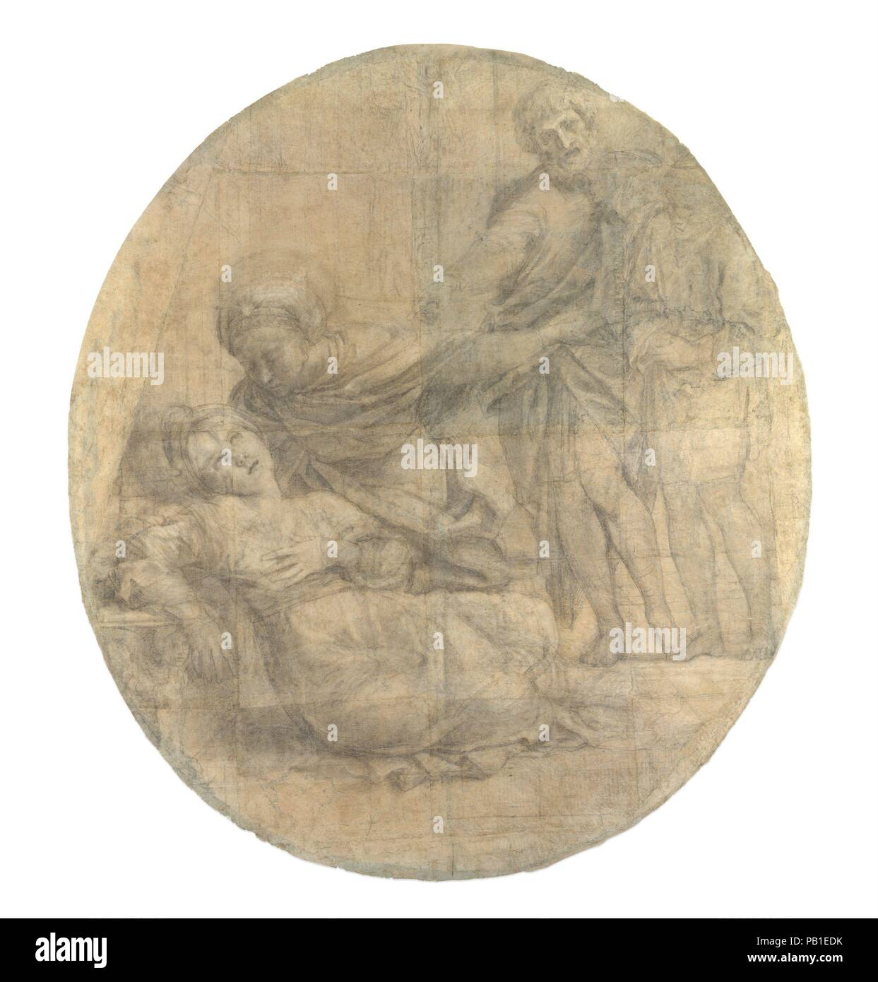 The Martyrdom of Saint Cecilia (Cartoon for a Fresco). Artist: Domenichino (Domenico Zampieri) (Italian, Bologna 1581-1641 Naples). Dimensions: Irregular oval: 67 13/16 × 59 9/16 in. (172.2 × 151.3 cm). Date: 1612-14.  This monumental, exquisitely rendered composition is among the most significant extant cartoons (full-scale drawings) by Domenichino.  It was a preparatory design for the central portion of his fresco of the Martyrdom of Saint Cecilia, painted on the left wall of the Polet chapel at San Luigi dei Francesi, the French church of Rome.    Domenichino received the contract for the f - Stock Image