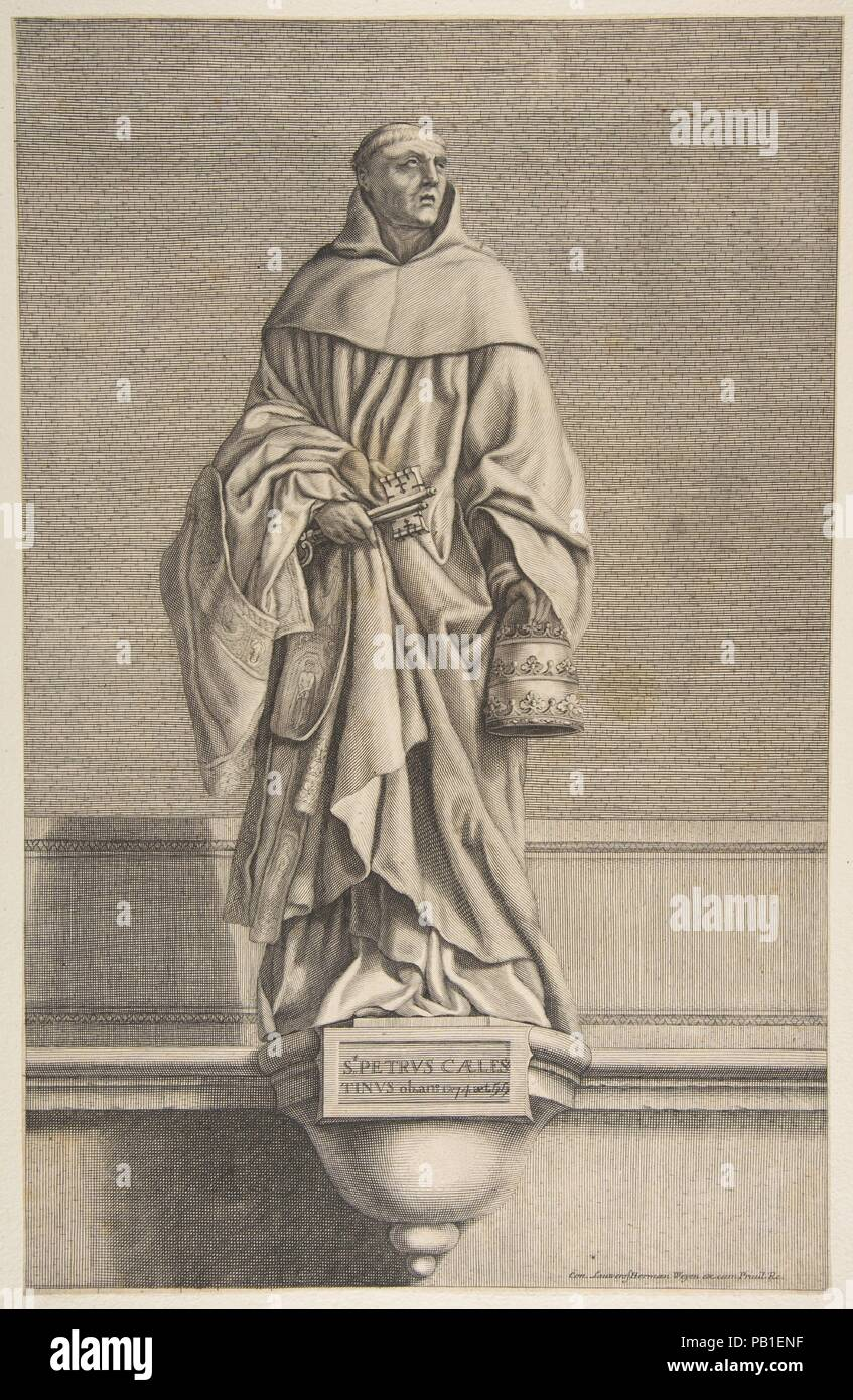 St. Peter Celestine. Artist: After Laurent de La Hyre (French, Paris 1606-1656 Paris); Conrad Lauwers (Flemish, Antwerp, 1632-ca. 1685). Dimensions: sheet: 17 x 10 7/8 in. (43.2 x 27.7 cm). Publisher: Published by Herman Weyen (Flemish, died Paris, 1672). Museum: Metropolitan Museum of Art, New York, USA. - Stock Image