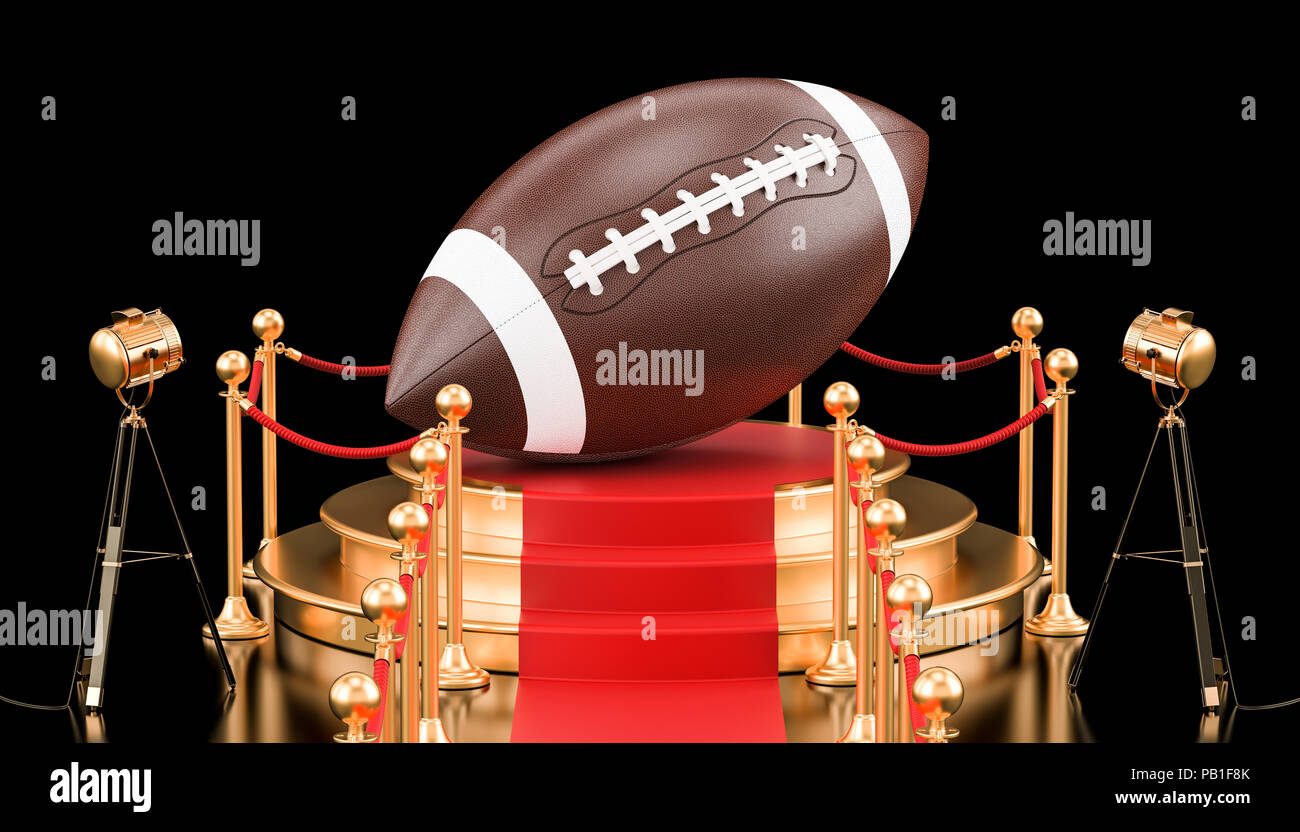 Podium with American football ball, 3D rendering isolated on black background - Stock Image