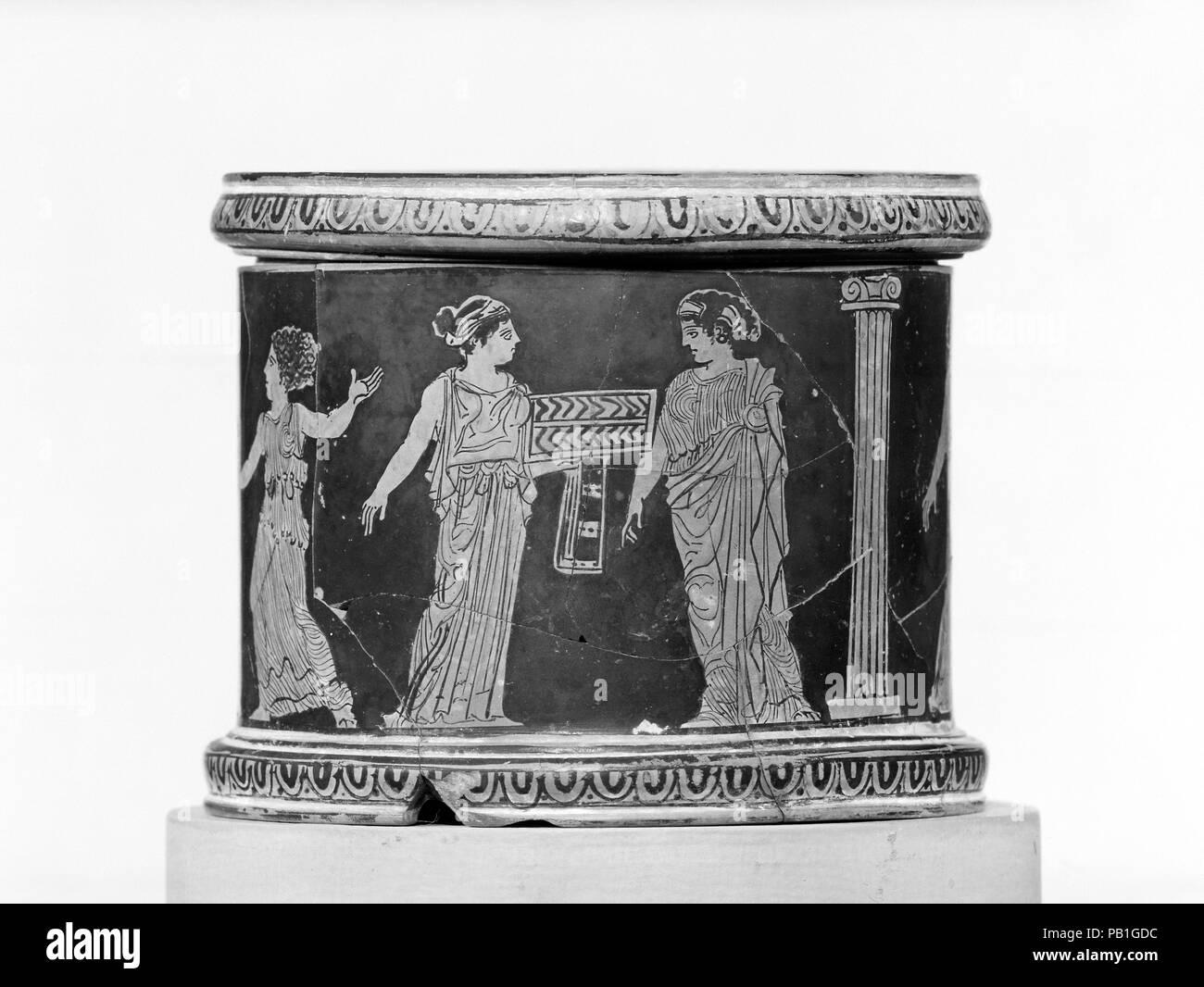 Terracotta Pyxis Box Culture Greek Attic Dimensions H 3 14