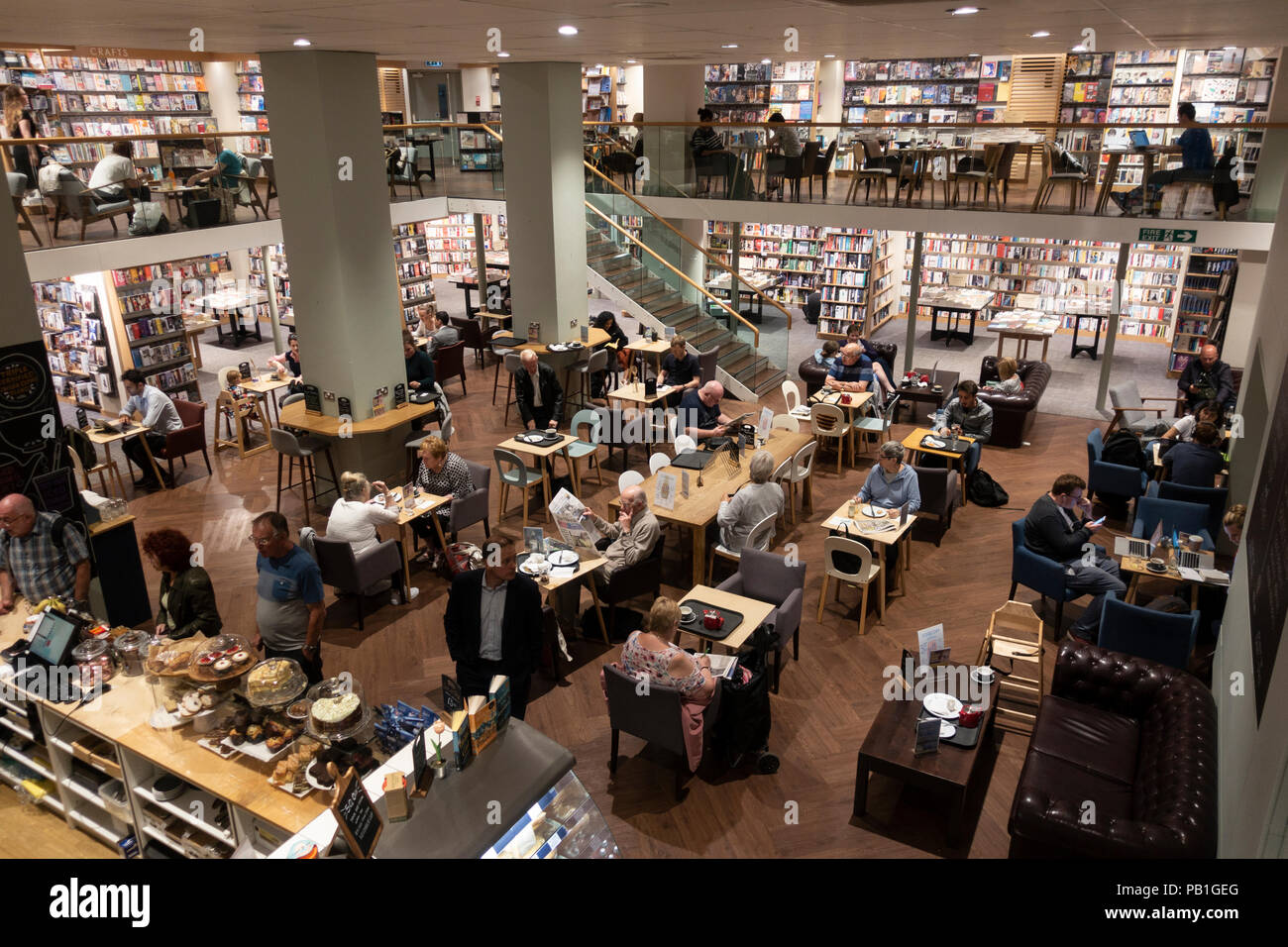 Interior of Costa Coffee inside Waterstones bookshop on Sauchiehall Street, Glasgow, UK - Stock Image