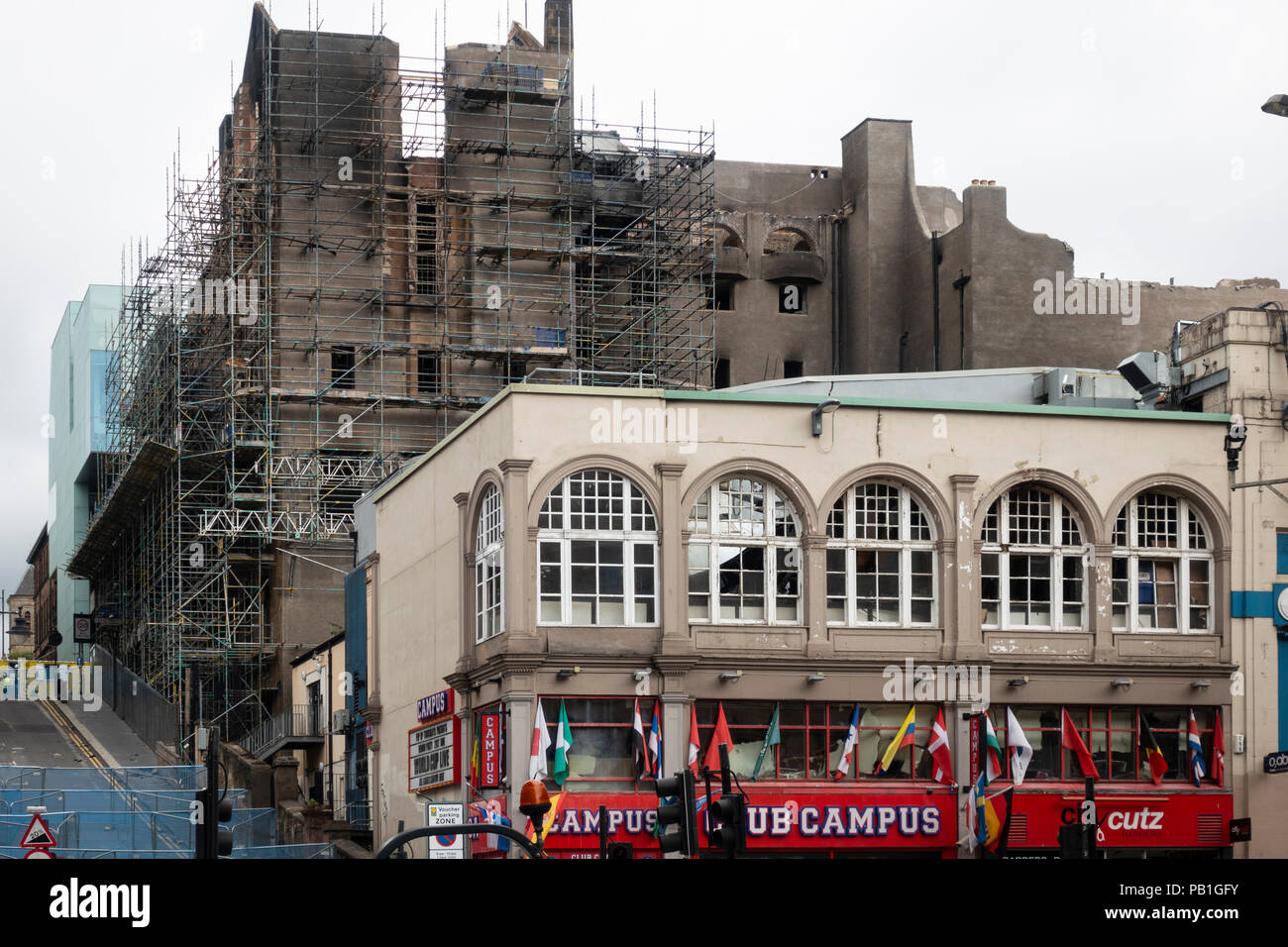 View of fire damaged Glasgow School of Art in central Glasgow. Building is now being demolished due to severity of damage, Scotland, UK - Stock Image