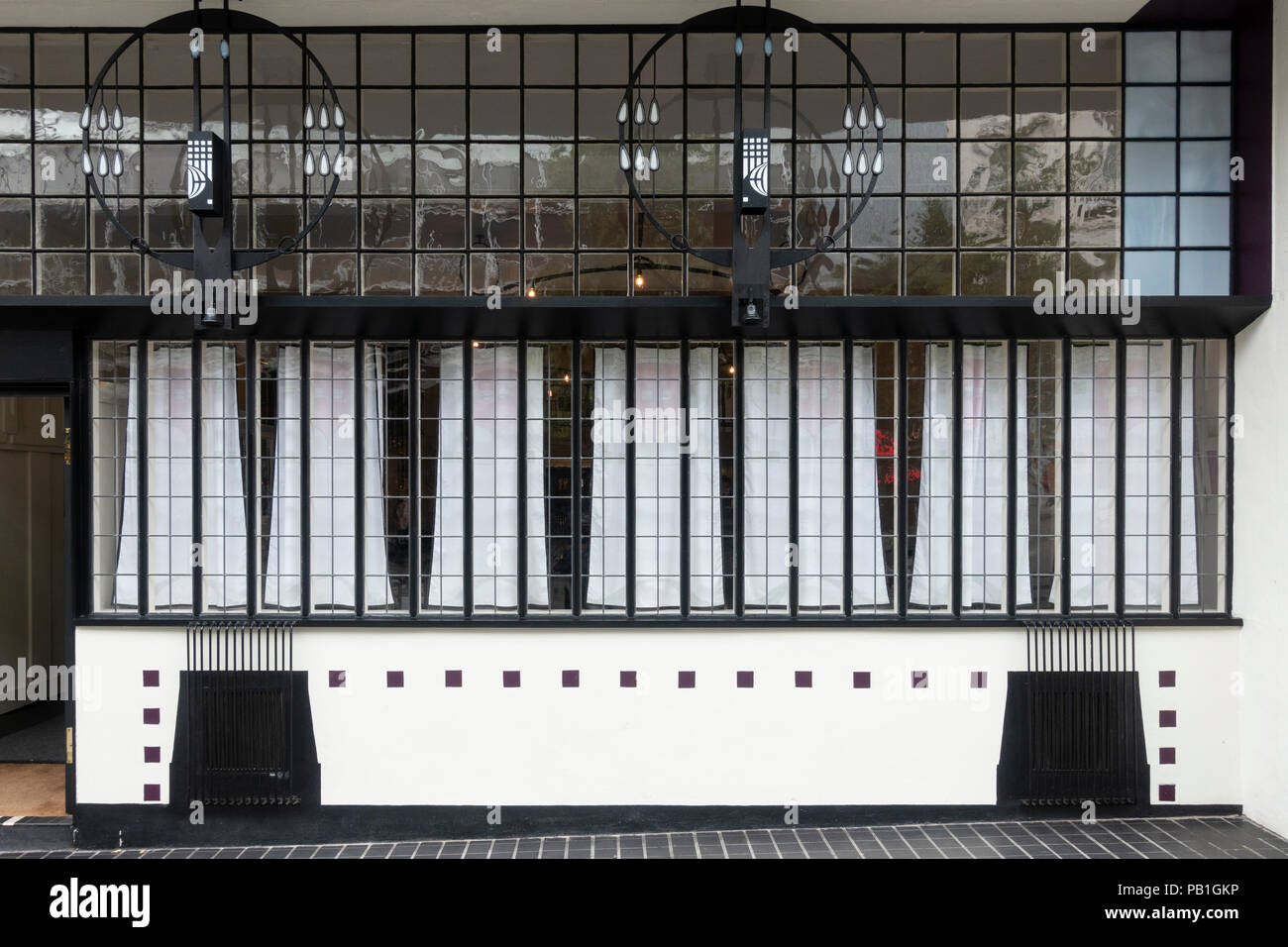 Exterior of facade of renovated Lunch and Tearooms , formerly Willow Tea Rooms, designed by Charles Rennie Mackintosh on Sauchiehall Street, Glasgow,  Stock Photo