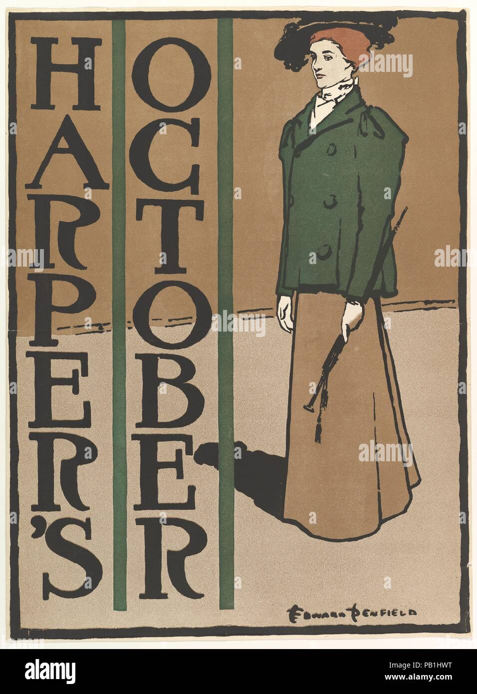Harper's: October. Artist: Edward Penfield (American, Brooklyn, New York 1866-1925 Beacon, New York). Dimensions: Sheet: 19 7/16 × 14 5/16 in. (49.3 × 36.4 cm)  Image: 19 3/16 × 14 1/8 in. (48.7 × 35.9 cm). Publisher: Harper and Brothers, Publishers. Date: 1897. Museum: Metropolitan Museum of Art, New York, USA. - Stock Image