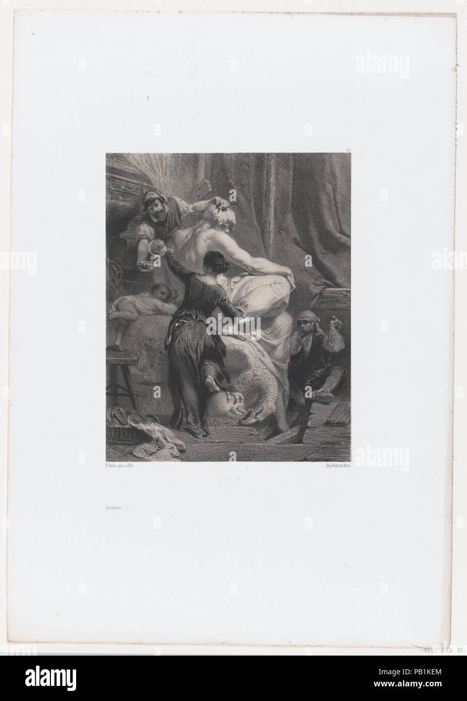 The Sculptors. Artist: Henri-Charles-Antoine Baron (French, Besançon 1816-1885 Geneva); Bertauts. Dimensions: Sheet: 17 5/8 × 12 5/16 in. (44.7 × 31.3 cm)  Image: 8 9/16 × 6 3/4 in. (21.7 × 17.2 cm). Series/Portfolio: Les Artistes Anciens et Modernes. Date: 1853. Museum: Metropolitan Museum of Art, New York, USA. - Stock Image