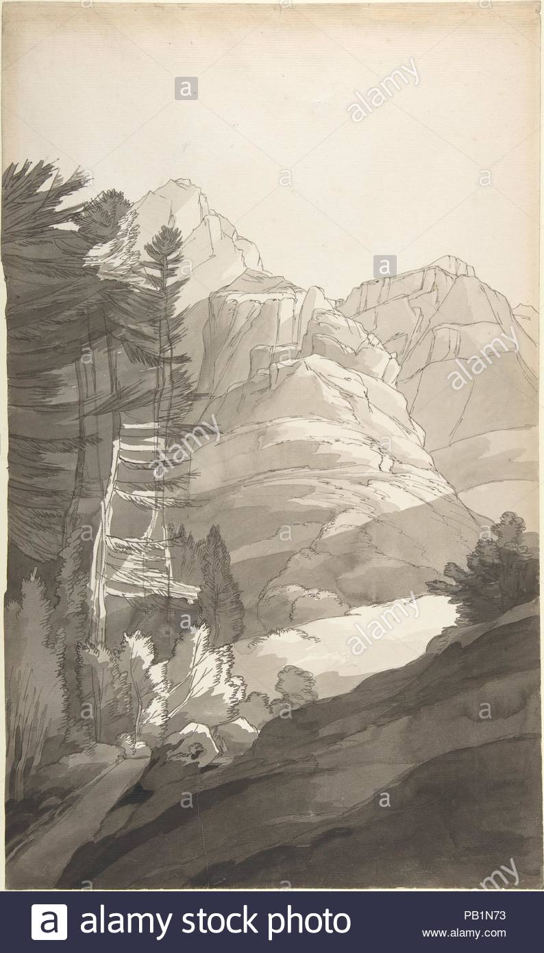 Near Glaris [Glarus], Switzerland. Artist: Francis Towne (British, Isleworth, Middlesex 1739-1816 Exeter). Dimensions: sheet: 18 3/8 x 11 3/16 in. (46.6 x 28.4 cm). Manufacturer: Paper manufactured by C. & I. Honig (Dutch, active 1738-1770). Date: September 2, 1781.  After a year in Italy, Towne returned to England through the Swiss Alps, sketching this steep tree-lined slope near Glarus, the capital of a mountainous eastern canton. The sheet was part of a large sketchbook, a format that allowed the artist to draw outdoors and move rapidly from pencil to brush to pen, capturing the essential q - Stock Image
