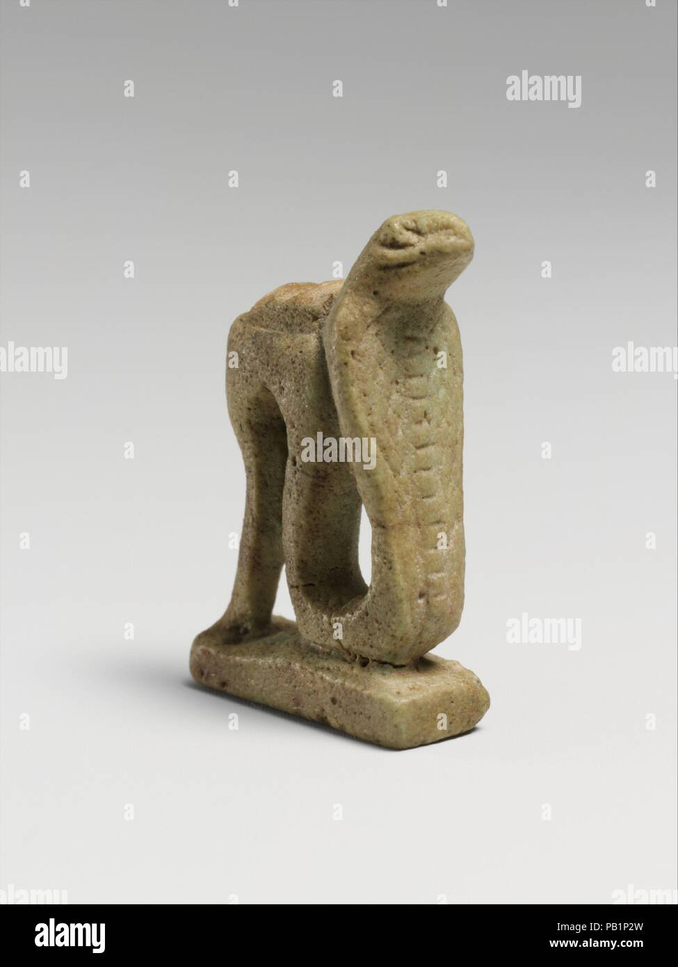 Faience snake amulet  Culture: Egyptian  Dimensions: H : 1 3/16 in