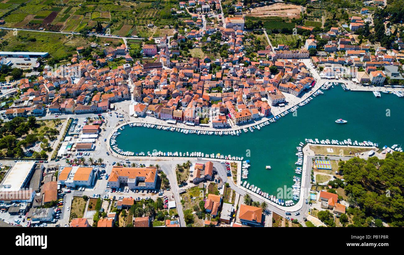 Aerial View Of Old Town Stari Grad Hvar Island Croatia