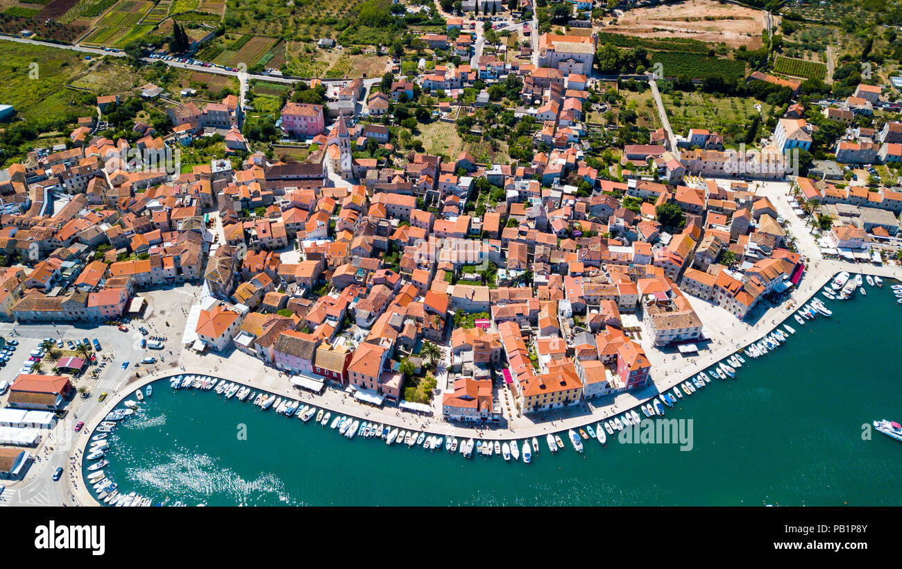 Aerial view of Old Town Stari Grad, Hvar Island, Croatia - Stock Image