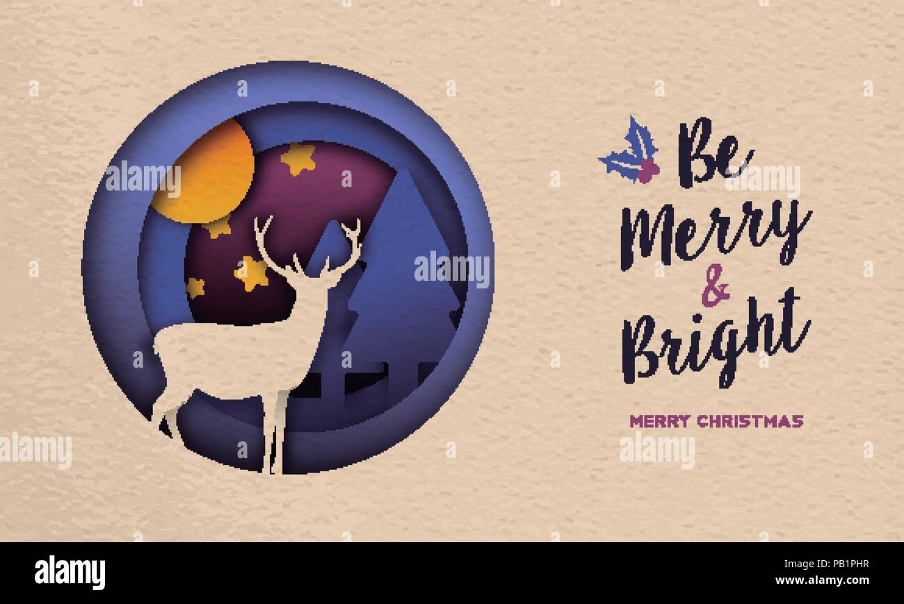 merry christmas and happy new year paper cut style web banner illustration cutout holiday forest scene with deer pine tree stars at night eps10 ve