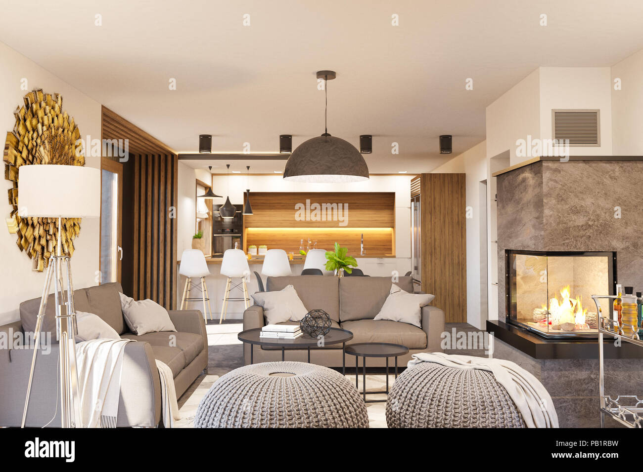 Living Room And Kitchen Interior Design With Fireplace Modern House In The Scandinavian