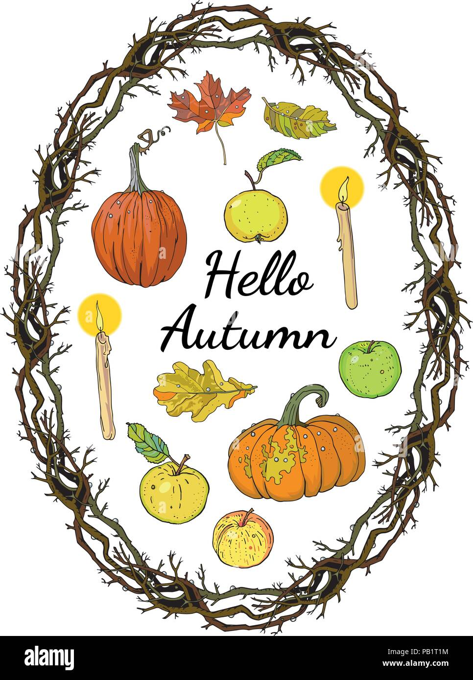 Hello autumn set: oval wreath branches frame, pumpkins, apples, oak, maple falling leaves, candles. Hand drawn vector illustration with inscription. Seasonal festive decoration. - Stock Vector