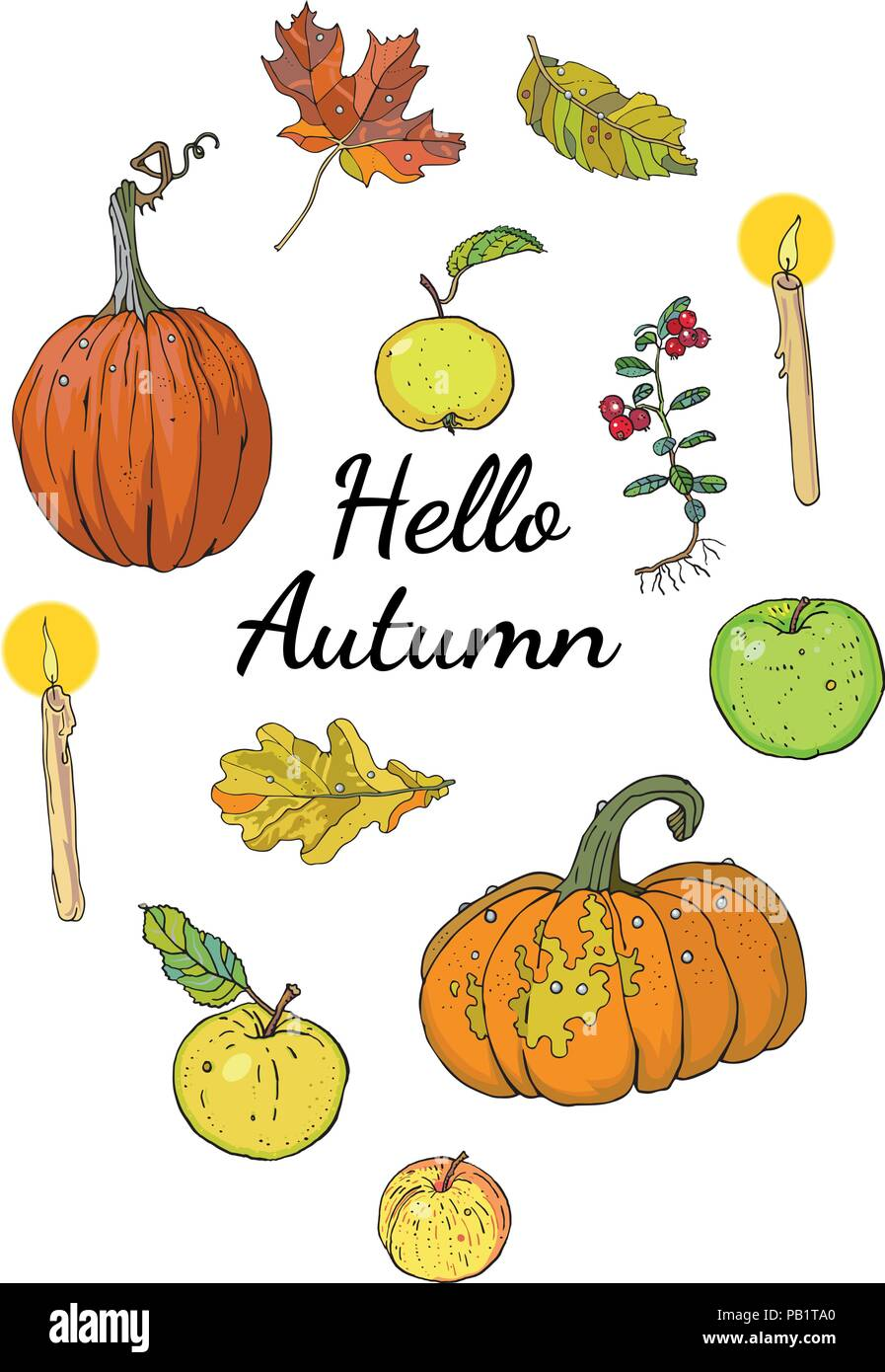 Hello autumn set, isolated objects with inscription: pumpkins, apples, oak and maple falling leaves, lingonberry, candles. Hand drawn vector illustration. Harvest season. Festive decoration. - Stock Vector