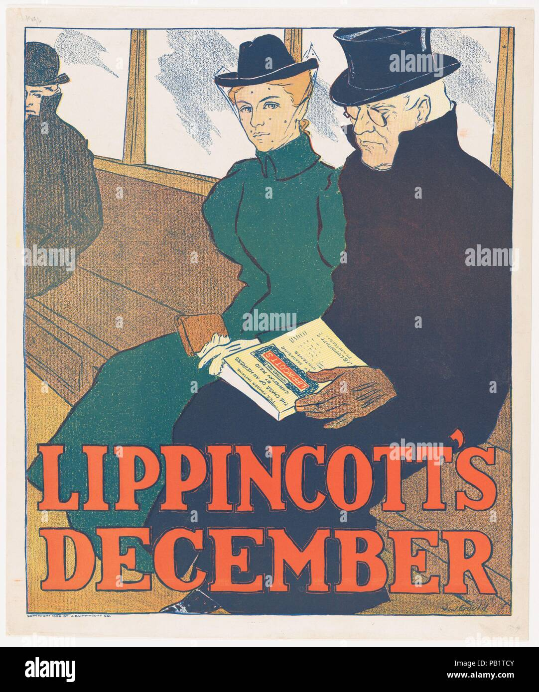 Lippincott's: December. Artist: Joseph J. Gould, Jr. (American, 1880-1935). Dimensions: Sheet: 16 3/4 × 13 7/8 in. (42.5 × 35.3 cm)  Image: 15 9/16 × 12 15/16 in. (39.6 × 32.8 cm). Publisher: J. B. Lippincott Company (Philadelphia). Date: 1896. Artwork also known as: LIPPINCOTT'S MONTHLY MAGAZINE. Museum: Metropolitan Museum of Art, New York, USA. - Stock Image