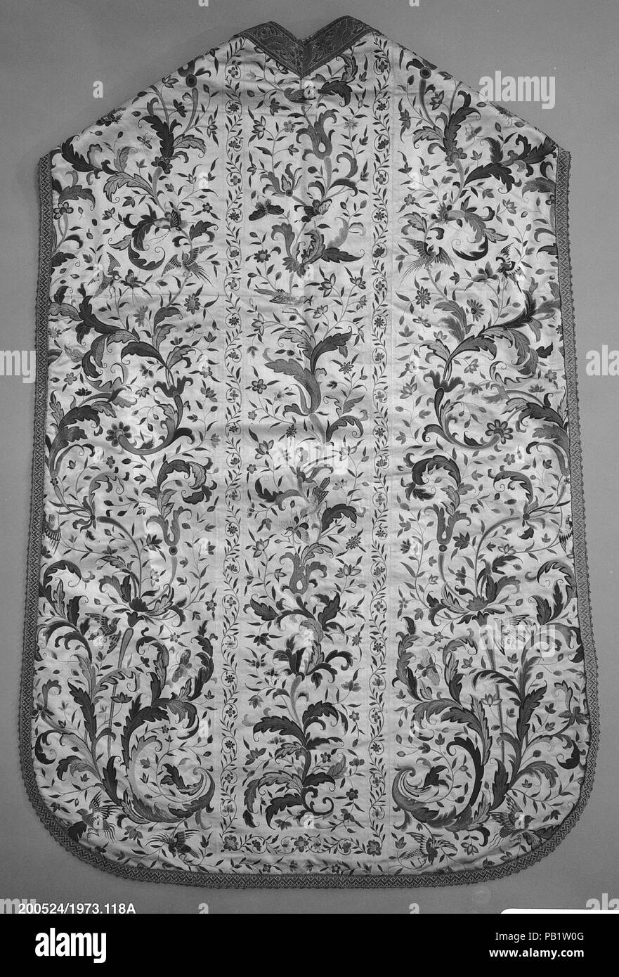 Chasuble. Culture: Chinese, for Eurpoean market. Dimensions: Neck to hem, back: 40 inches; 101.6 cm. Date: late 18th century.  Though Jesuit priests were received at the Chinese court with great appreciation of their learning and courtesy, a misunderstanding occurred between the Pope and Emperor K'ang-his toward the end of the latter's life. By the second half of the eighteenth century, Christian services were forbidden in China and vestments such as these were made only for a market outside China. Museum: Metropolitan Museum of Art, New York, USA. - Stock Image