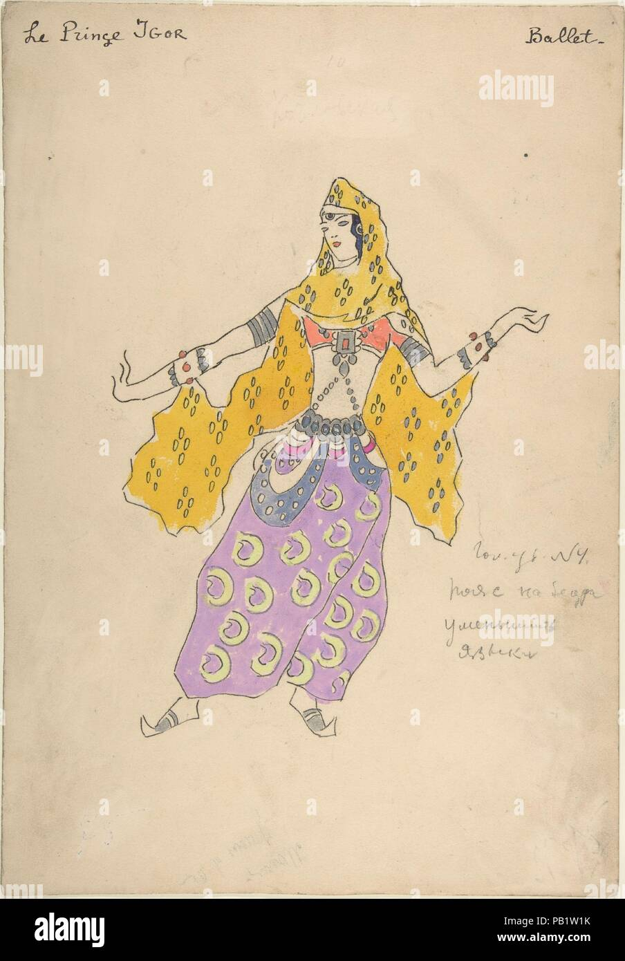 Costume design for Polovtsian girl in 'Prince Igor'. Artist: Konstantin Korovin (Russian, Moscow 1861-1939 Paris). Dimensions: sheet: 15 1/4 x 10 9/16 in. (38.7 x 26.8 cm). Date: 1909.  Costume design for Polovtsian girl in 'Prince Igor'. She stands with her weight on her left hip and arms extended to the sides, wearing a short-sleeved, orange crop top, wide-legged purple pants with green loops, and an orange scarf with lozenges of four purple dots tied around her head and hanging behind her back. Gray cuffs wrap her upper arms, and the forearms are wrapped by white cuffs with silver borders a - Stock Image