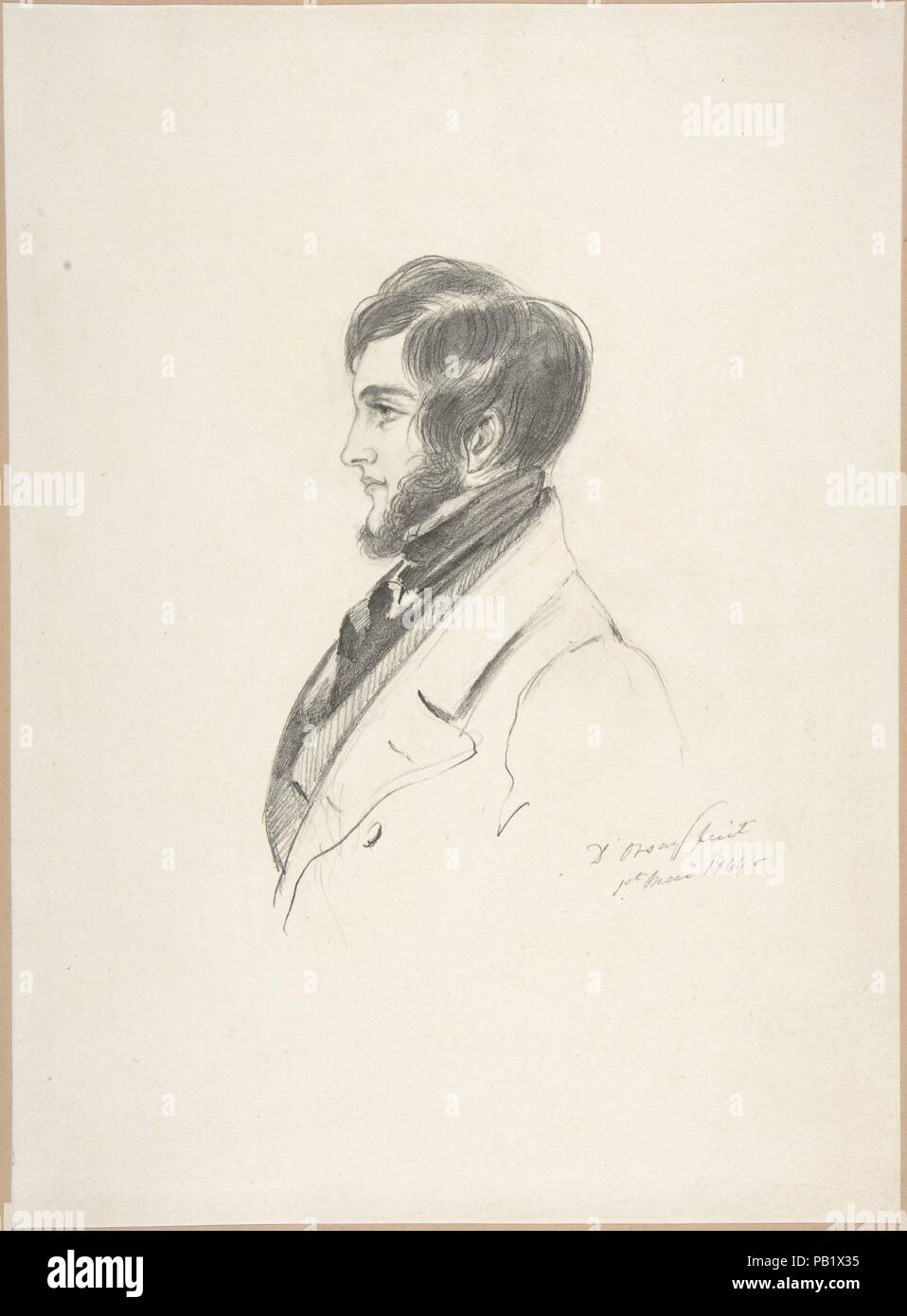 Portrait of Charles Kinnaird Sheridan. Artist: Count Alfred Guillaume Gabriel D'Orsay (French, 1801-1852). Dimensions: sheet: 11 1/16 x 8 1/16in. (28.1 x 20.4cm). Date: 1844. Museum: Metropolitan Museum of Art, New York, USA. - Stock Image