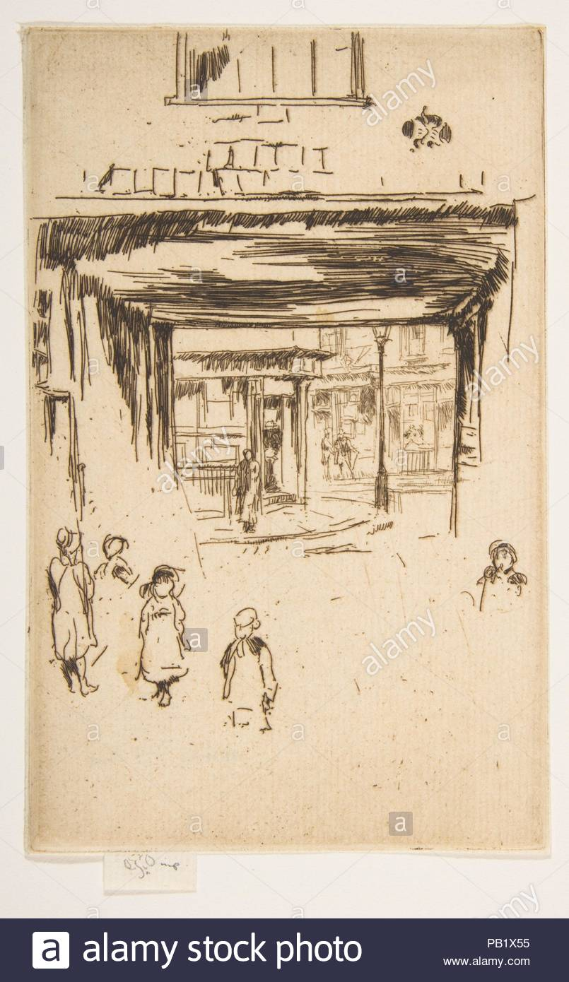 Drury Lane. Artist: James McNeill Whistler (American, Lowell, Massachusetts 1834-1903 London). Dimensions: Plate: 6 7/16 × 4 1/8 in. (16.3 × 10.4 cm)  Sheet: 6 7/16 × 4 1/8 in. (16.3 × 10.4 cm). Series/Portfolio: Second Venice Set ('A Set of Twenty-Six Etchings by James A. McN. Whistler,' 1886). Date: [1880-81]. Museum: Metropolitan Museum of Art, New York, USA. - Stock Image